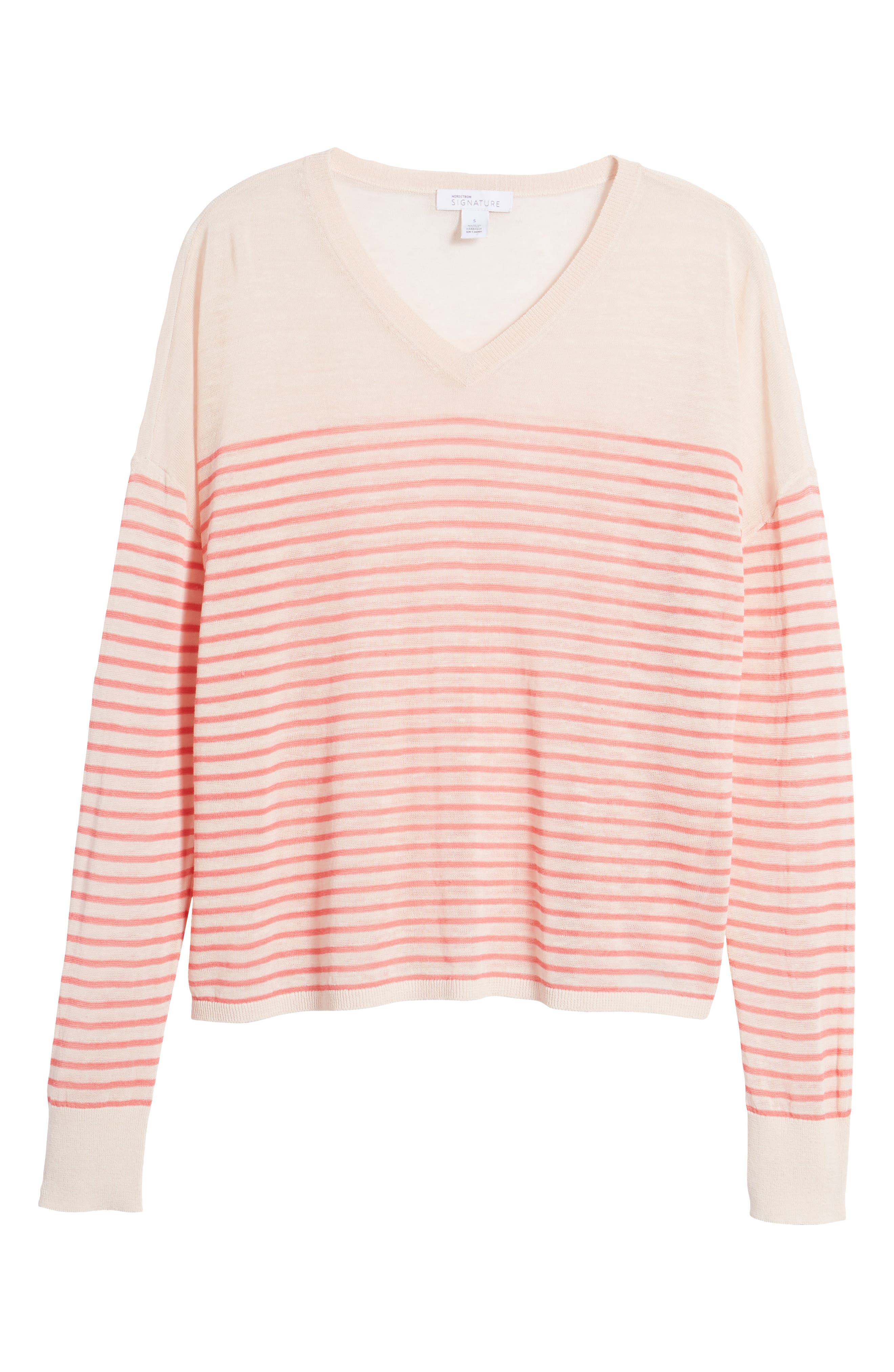 Stripe Linen Blend Sweater,                             Alternate thumbnail 7, color,                             Pink Peony- Coral Rose Stripe