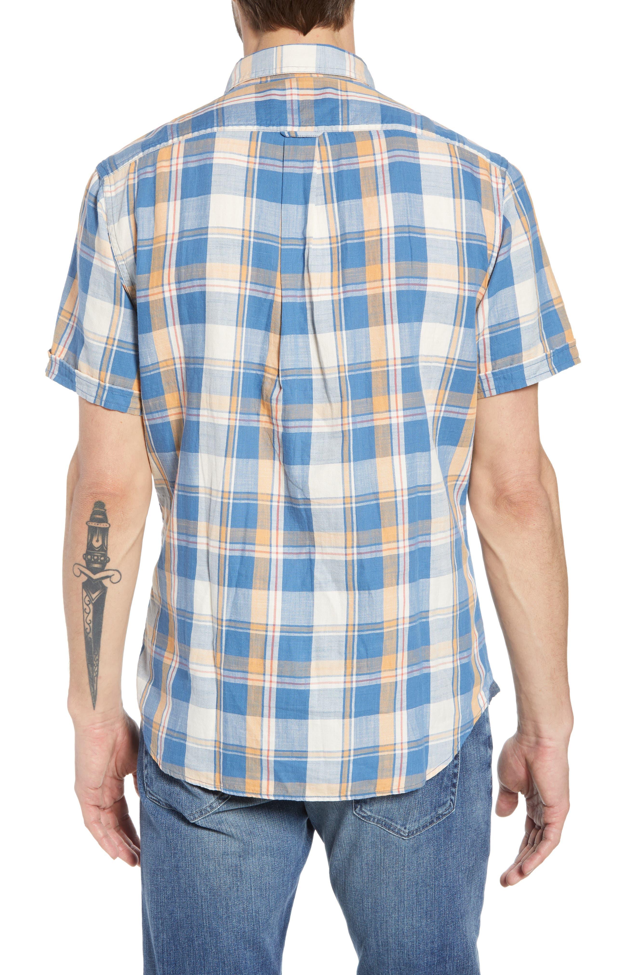 Sherman Plaid Slub Twill Sport Shirt,                             Alternate thumbnail 3, color,                             Blue Mustard Red