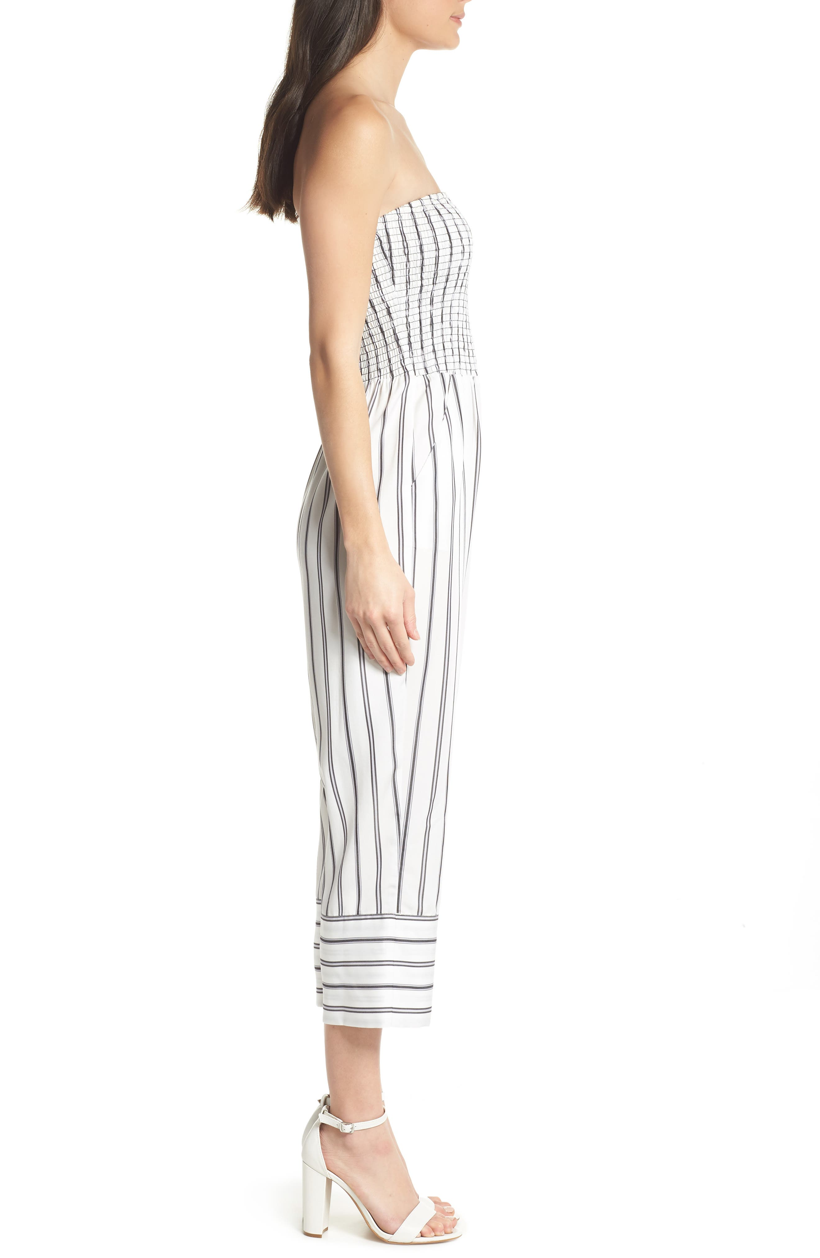 Get in the Grove Stripe Strapless Jumpsuit,                             Alternate thumbnail 3, color,                             Black/ White Uneven Stripe