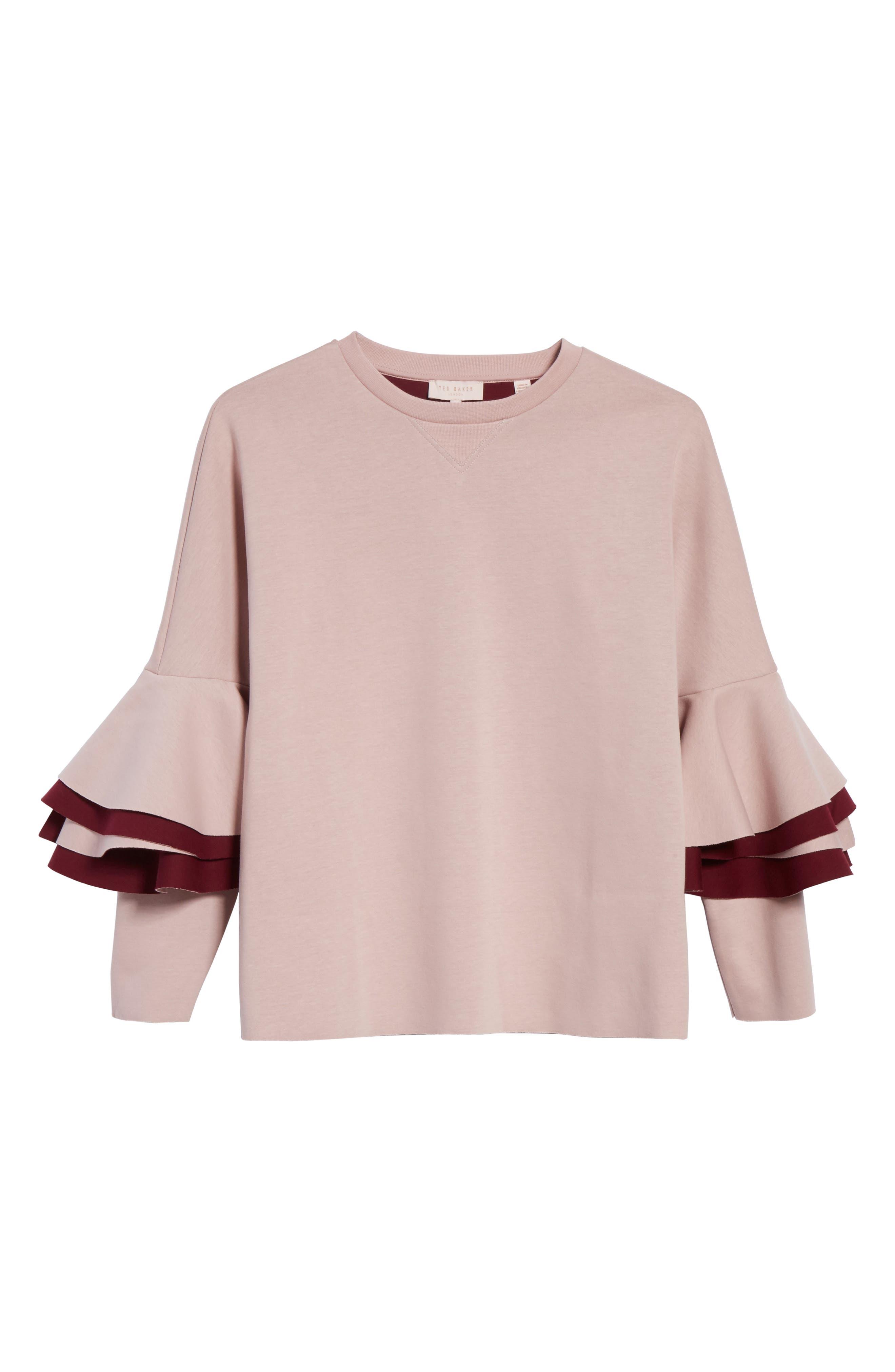 Frill Sleeve Sweatshirt,                             Alternate thumbnail 6, color,                             Dusky Pink