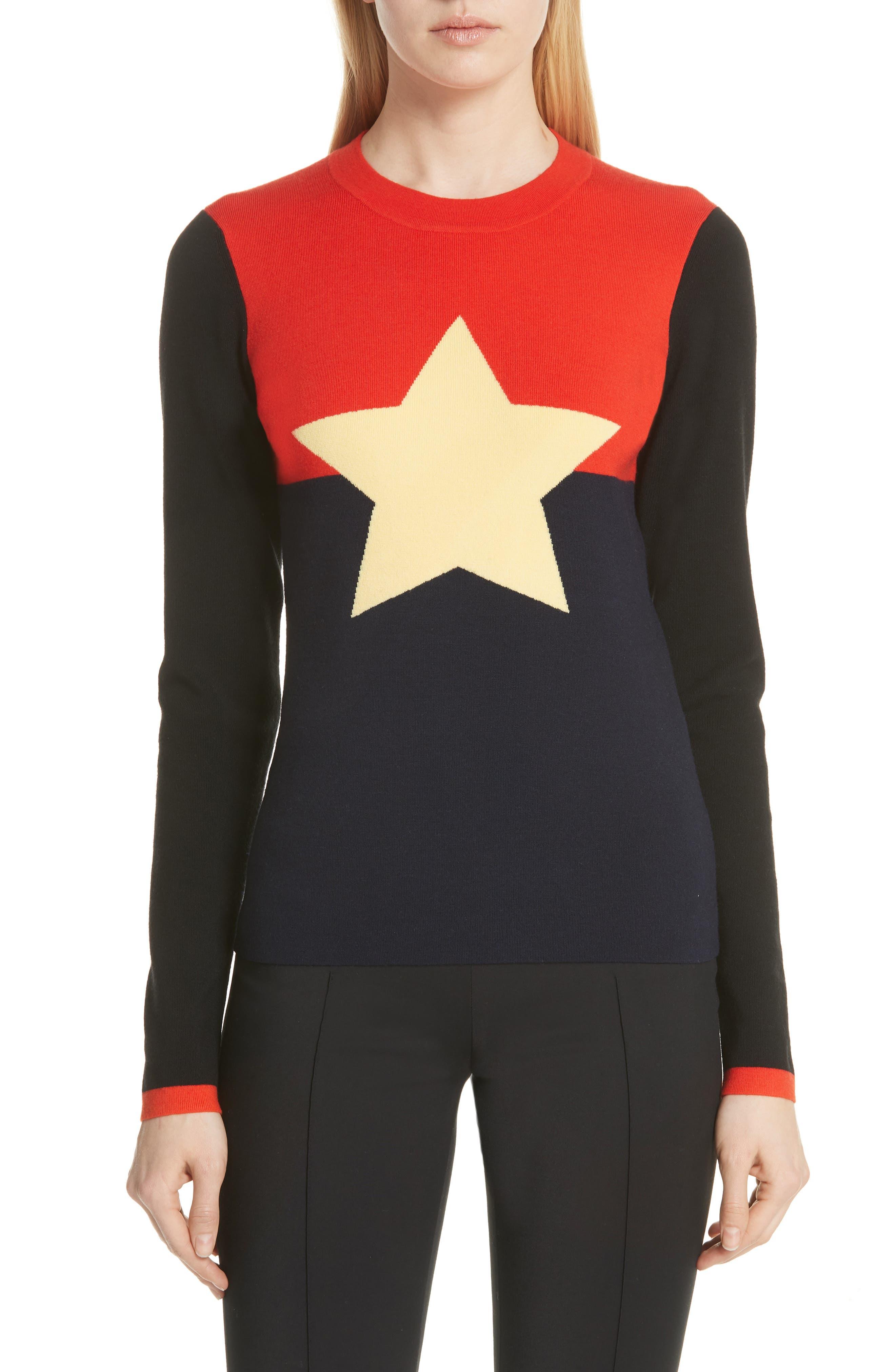 Diane von Furstenberg Star Sweater,                             Main thumbnail 1, color,                             Poppy Multi