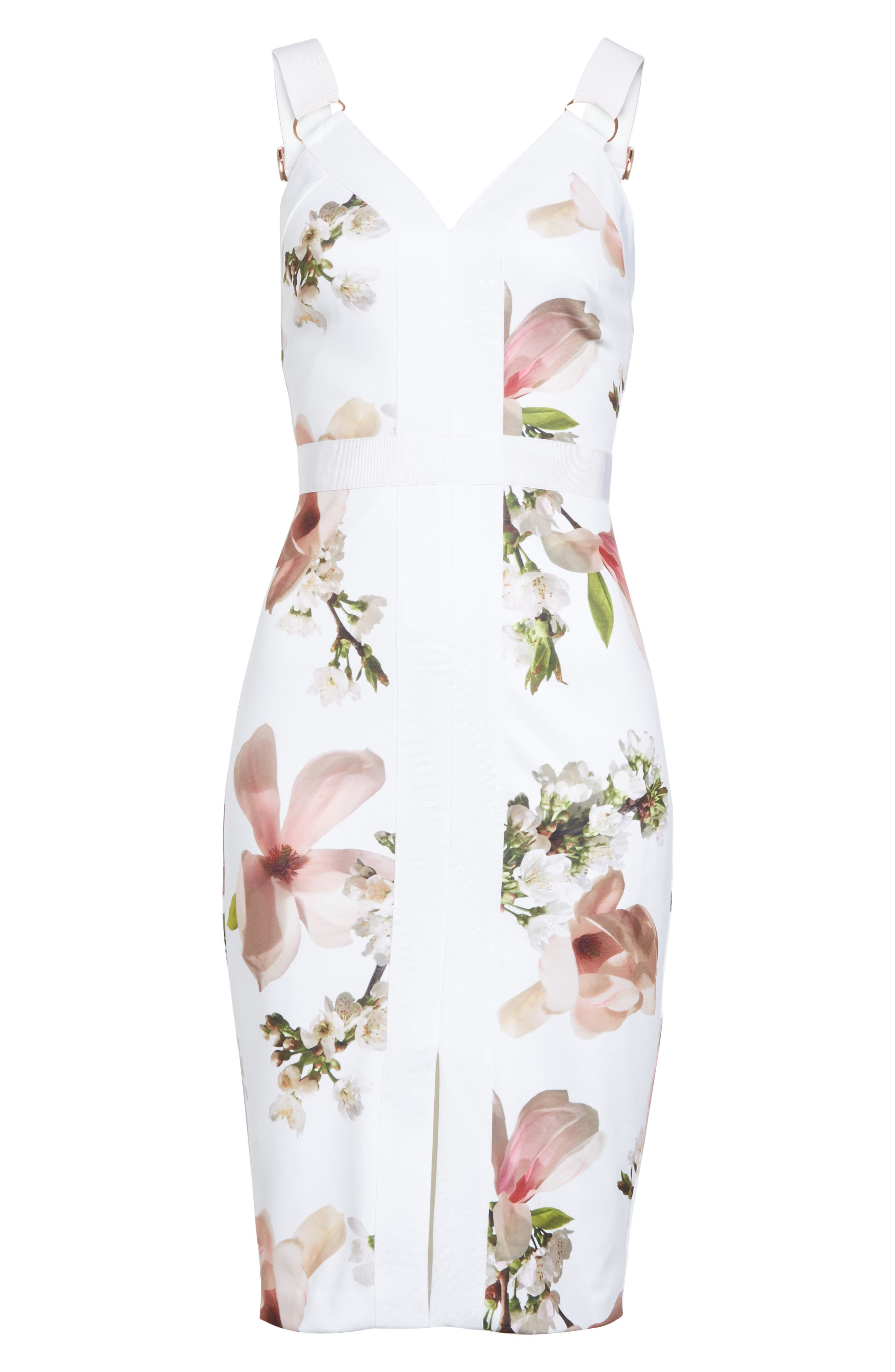 Harmony Floral Sheath Dress,                             Alternate thumbnail 6, color,                             White