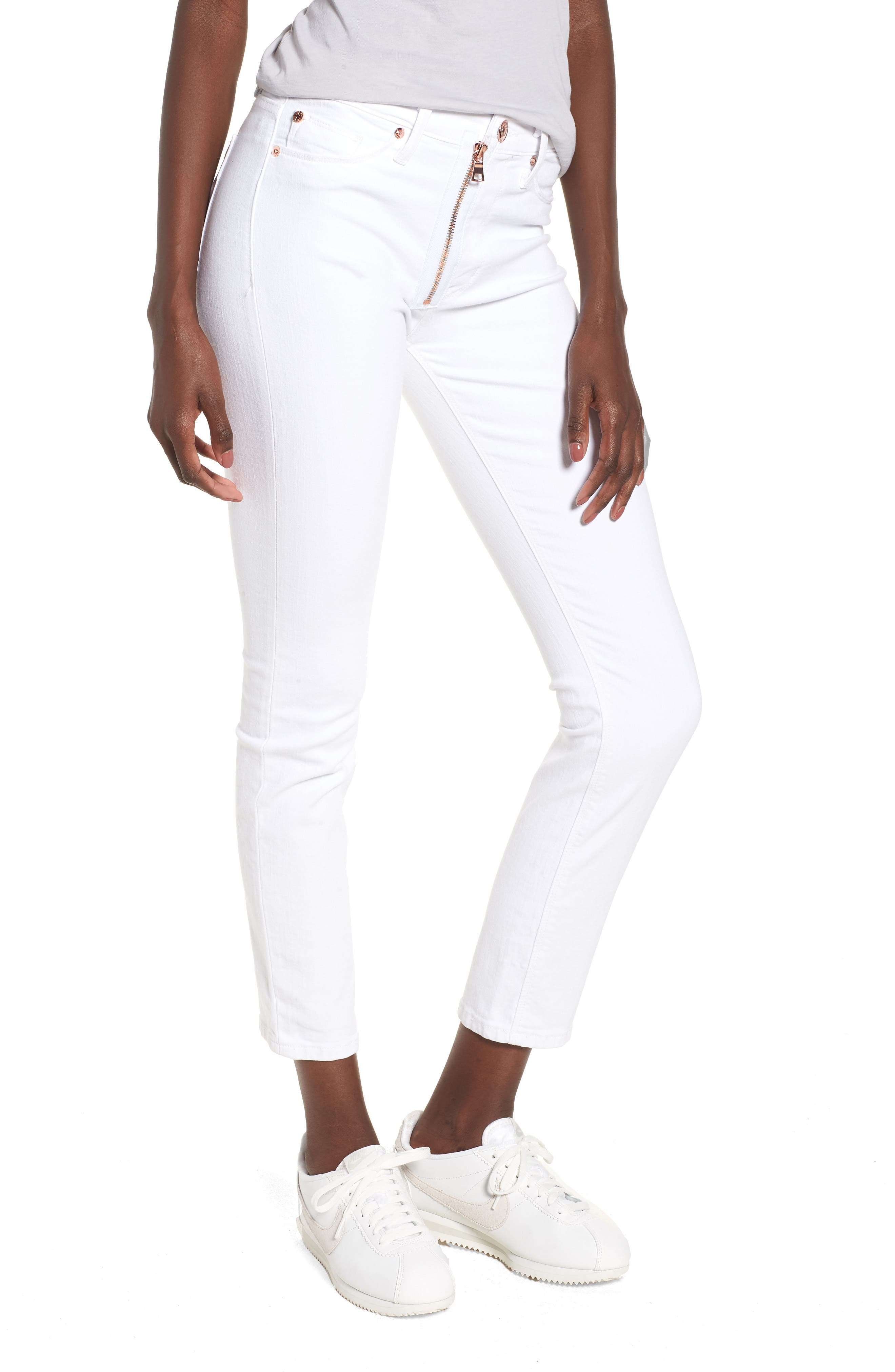 Barbara Exposed Zip High Waist Jeans,                         Main,                         color, Optical White