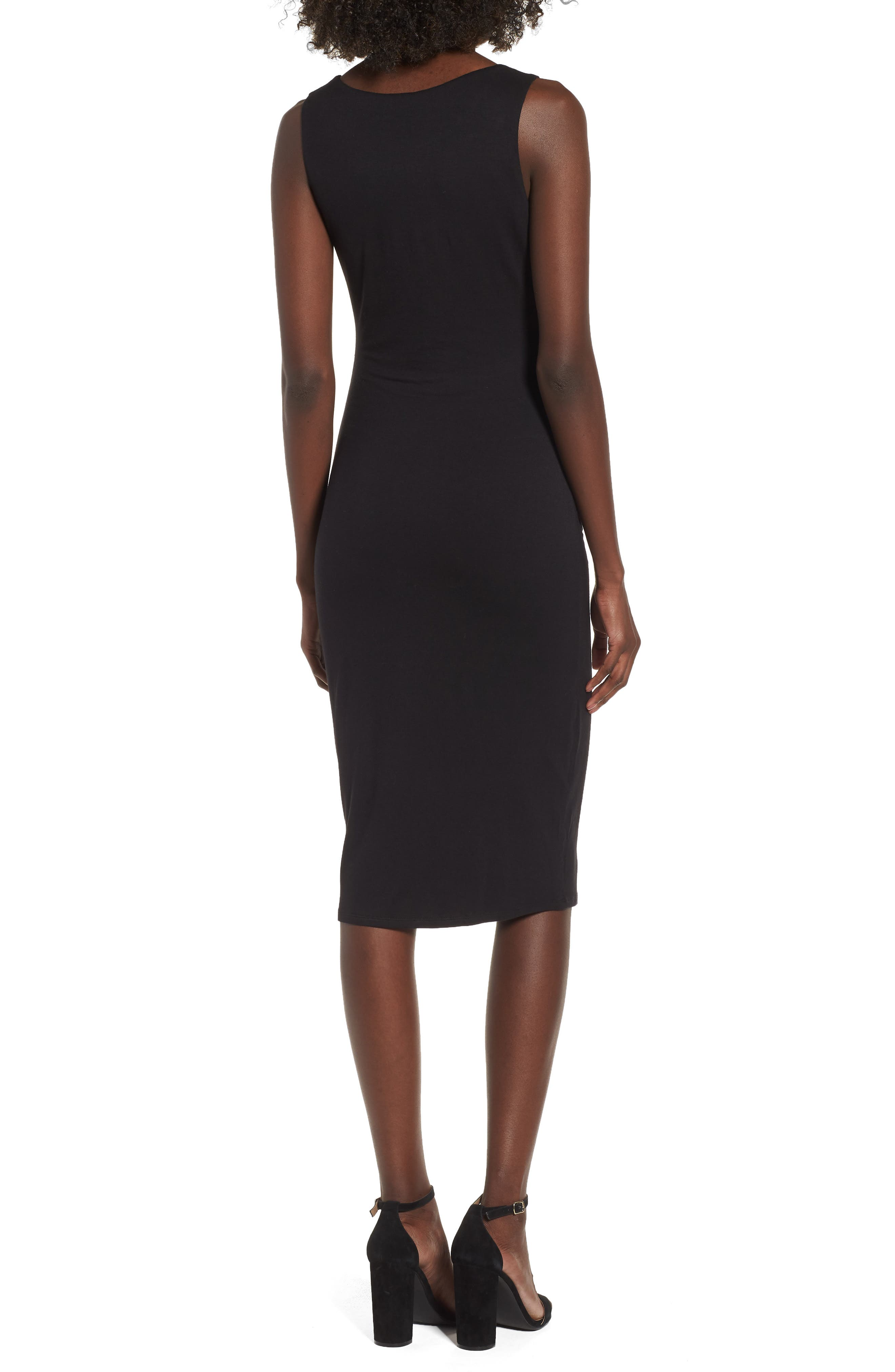 Ruched Sheath Dress,                             Alternate thumbnail 2, color,                             Black
