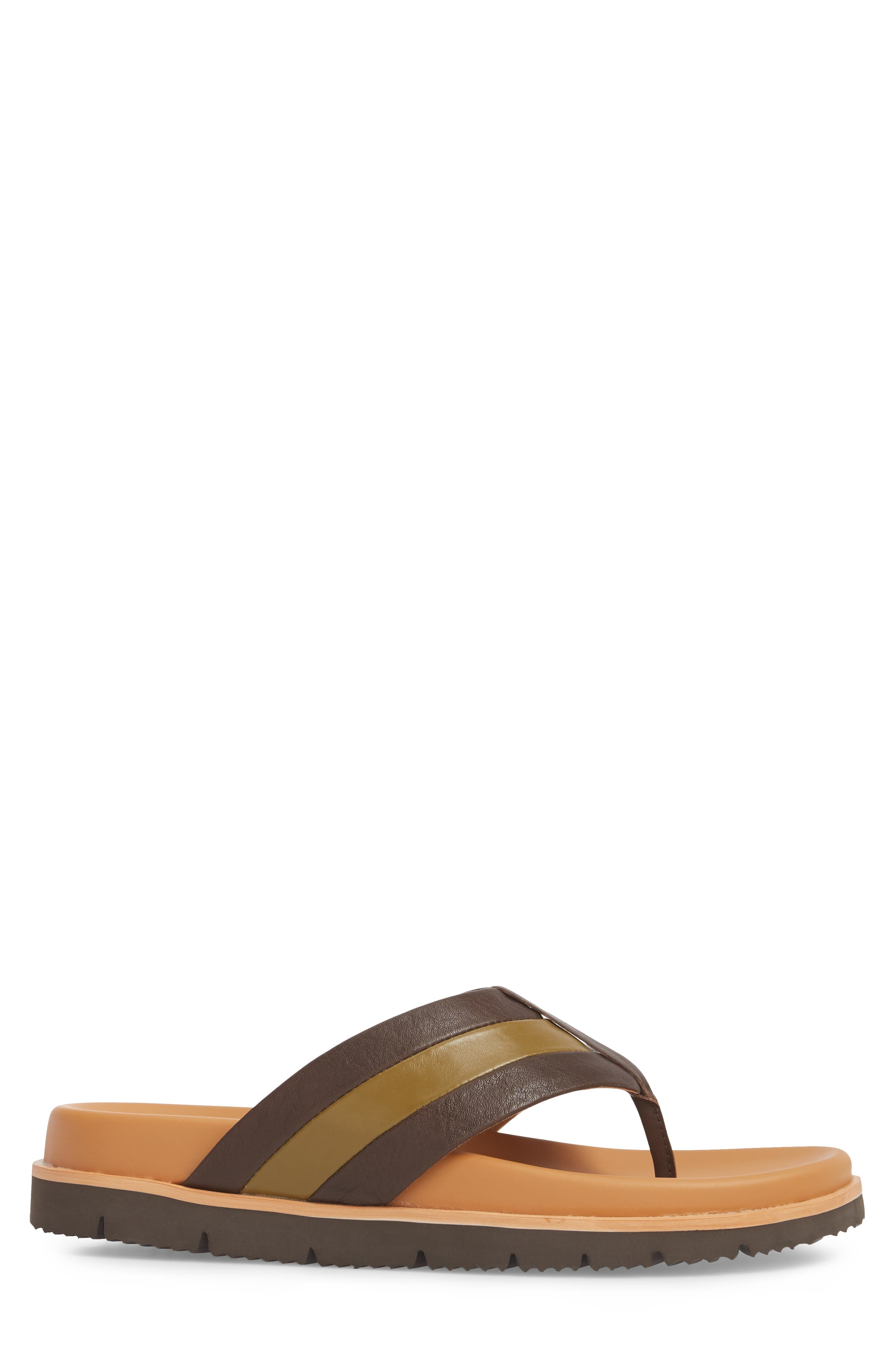 Bryce Striped Flip Flop,                             Alternate thumbnail 3, color,                             Brown/ Tan Leather