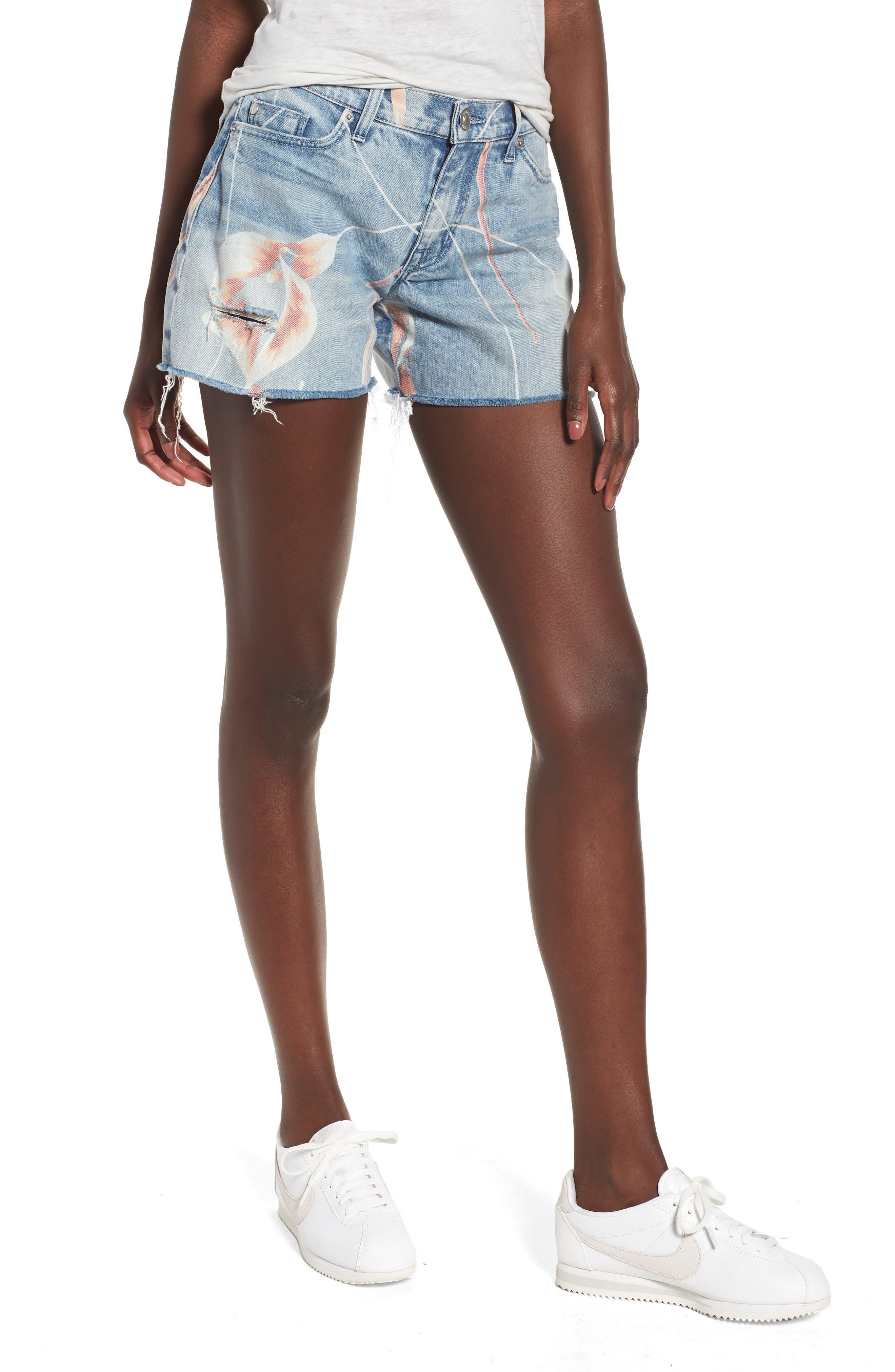 Valeri Painted Denim Shorts,                         Main,                         color, In Bloom