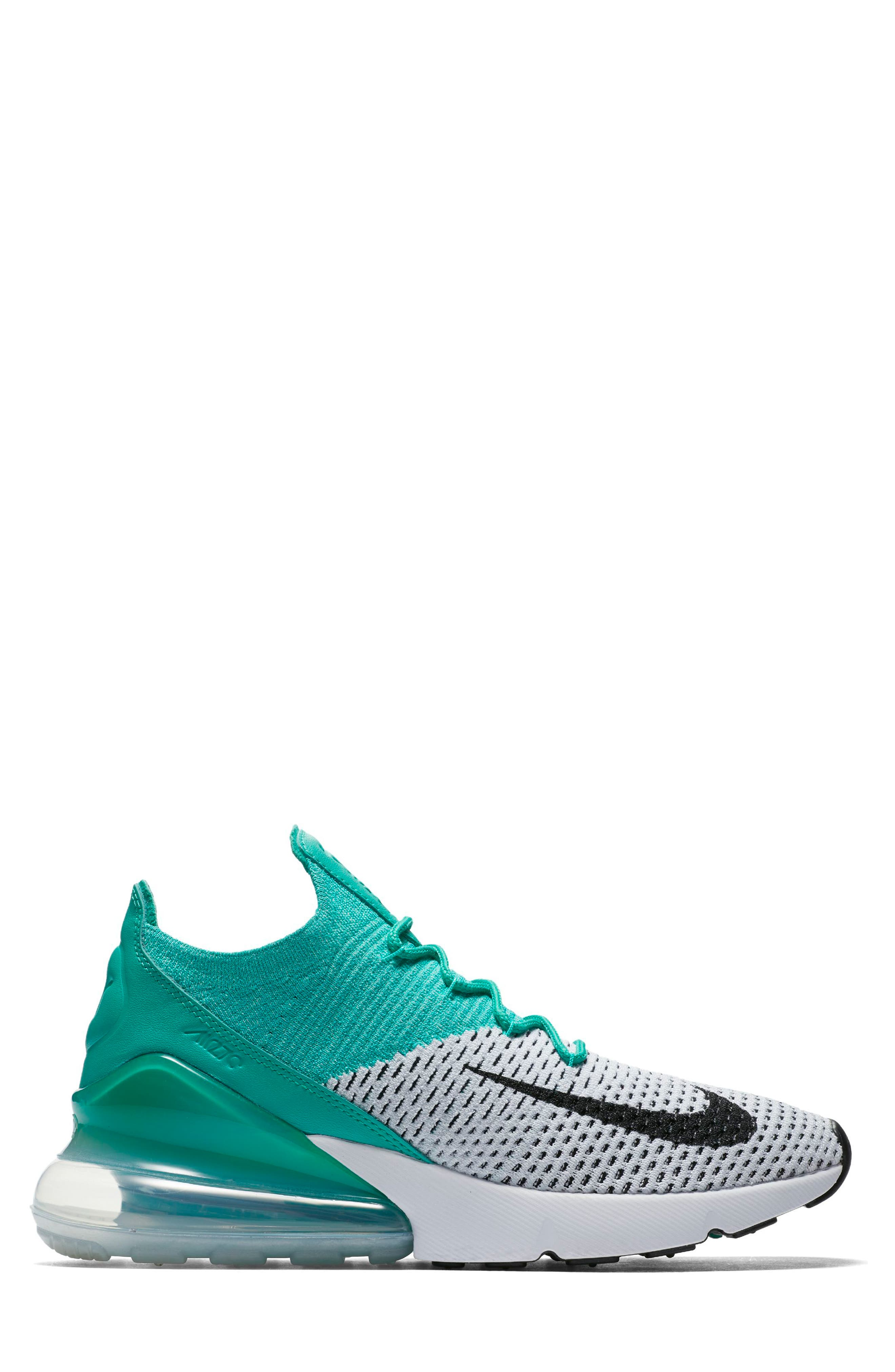 Air Max 270 Flyknit Sneaker,                             Alternate thumbnail 3, color,                             Emerald/ Black/ Pure Platinum