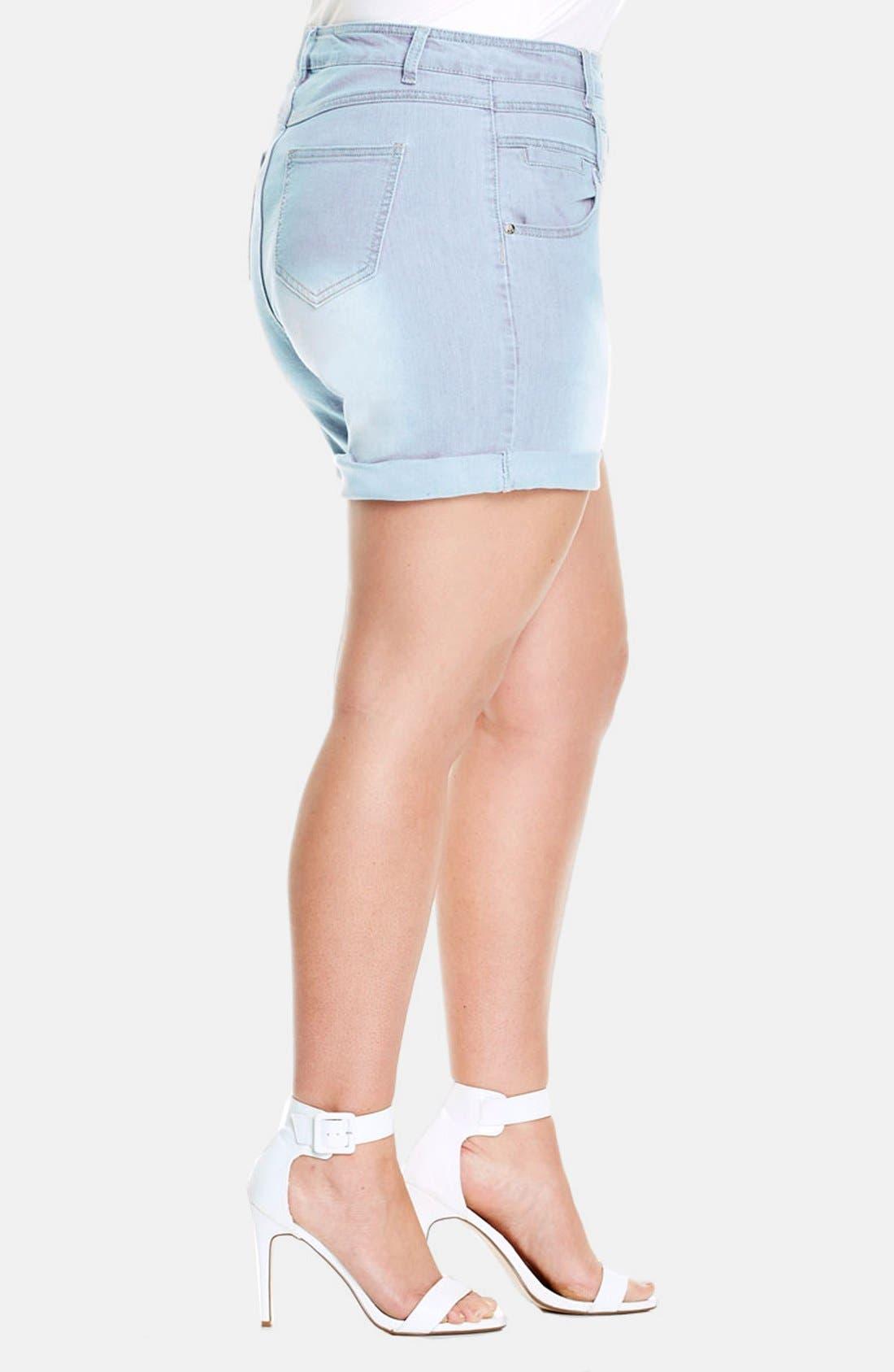 Alternate Image 3  - City Chic High Waist Denim Shorts (Plus Size)