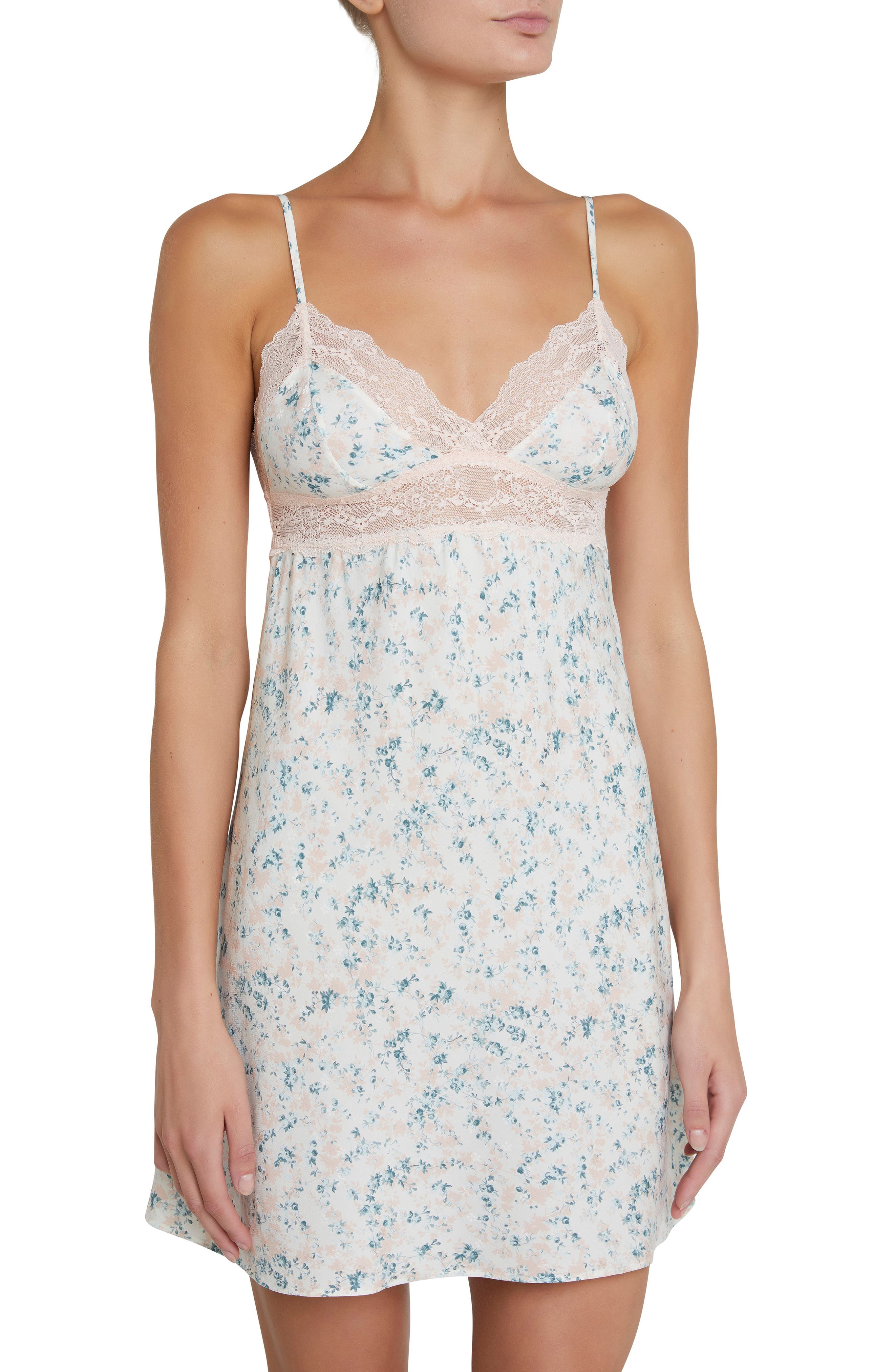 Lily Stretch Silk Chemise,                         Main,                         color, Ivory Floral Print