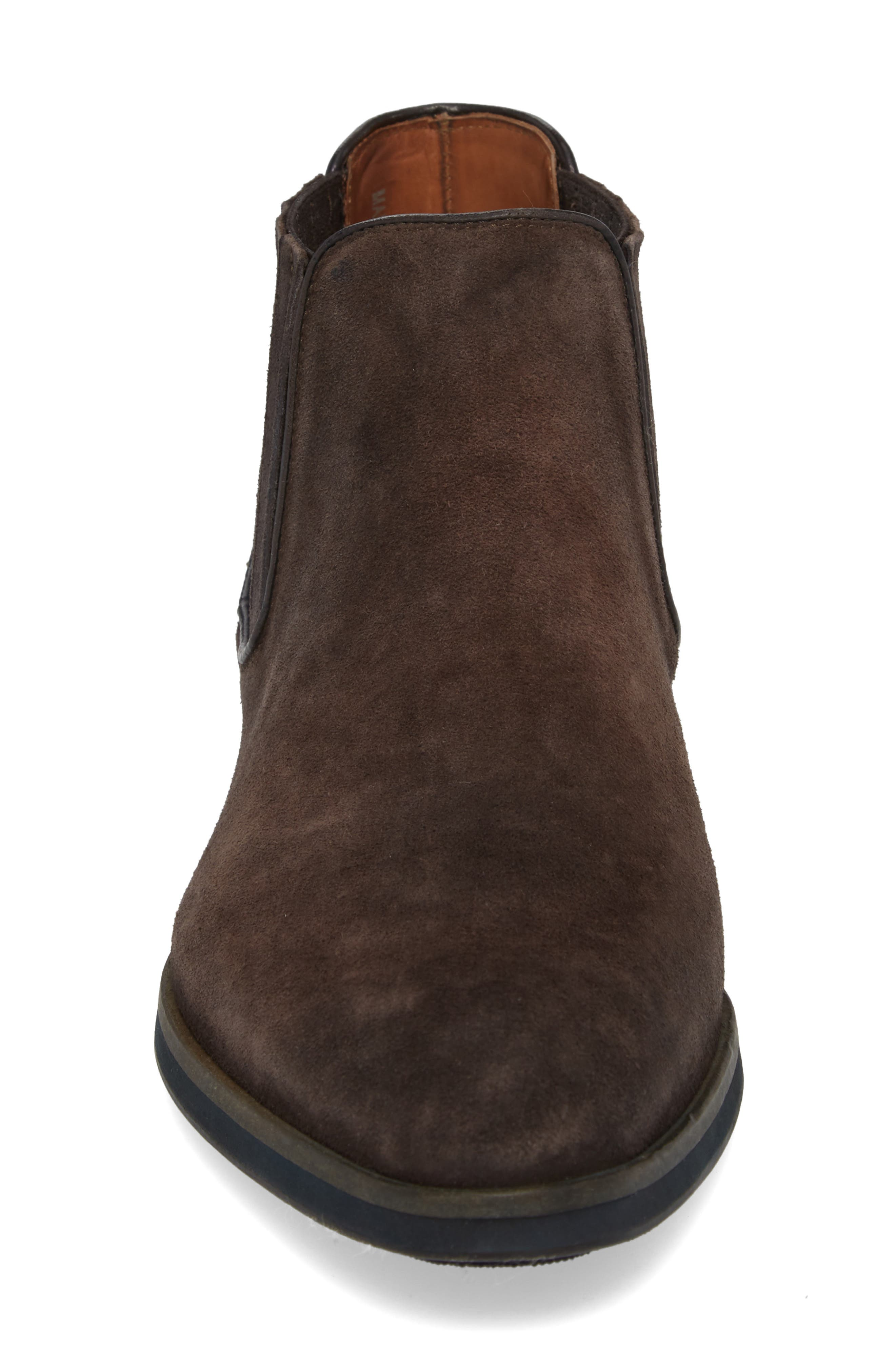 Gus Mid Top Chelsea Boot,                             Alternate thumbnail 4, color,                             Coffee Oily Suede