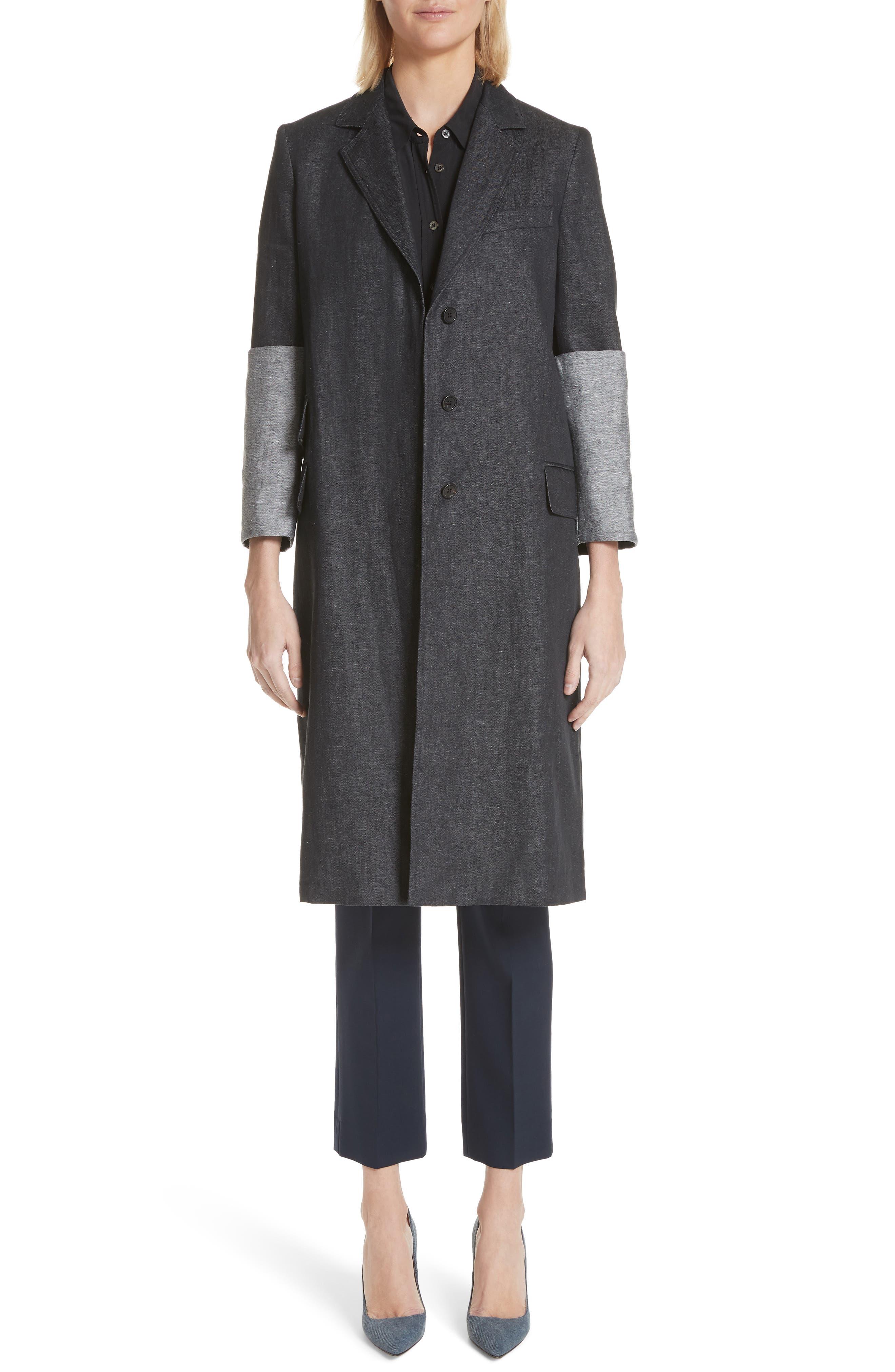 Cannone Linen Coat,                             Main thumbnail 1, color,                             Black
