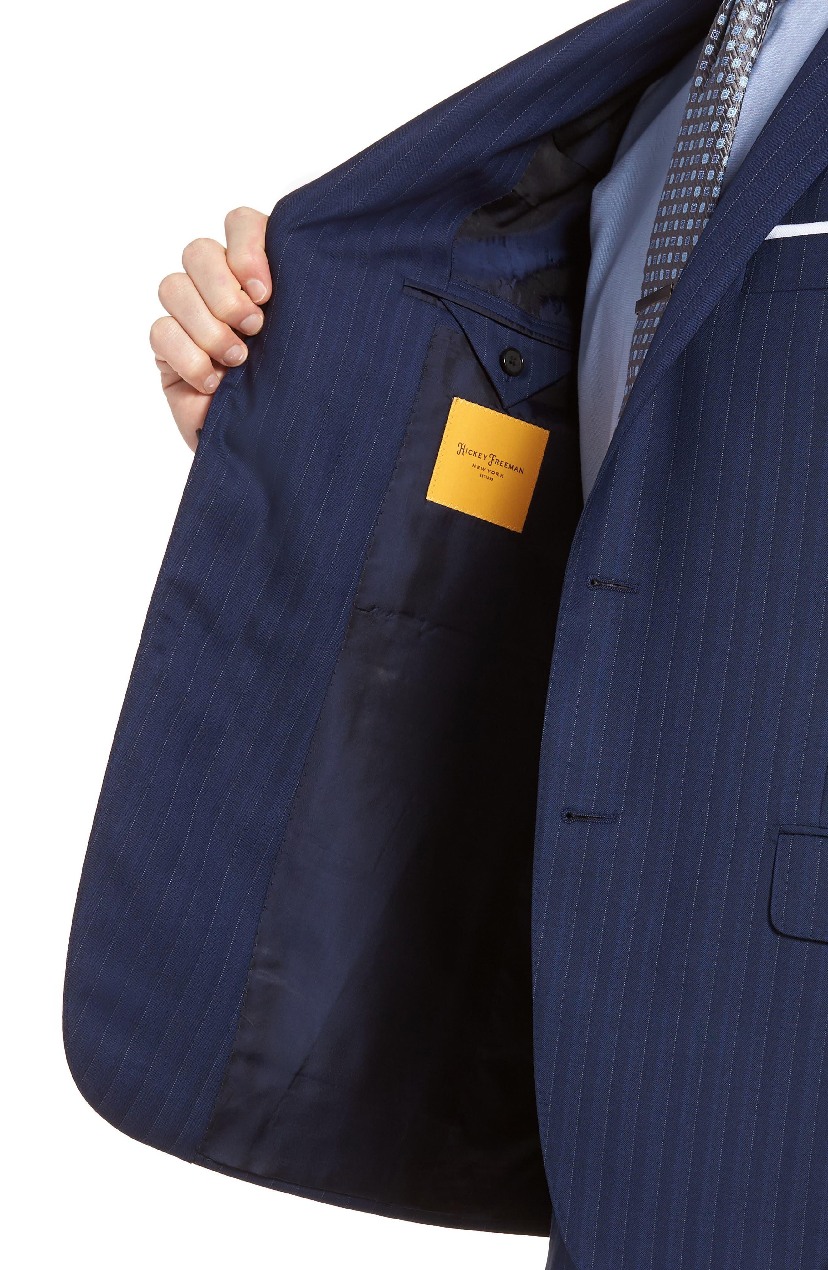 Classic B Fit Stripe Wool Suit,                             Alternate thumbnail 4, color,                             Navy Stripe