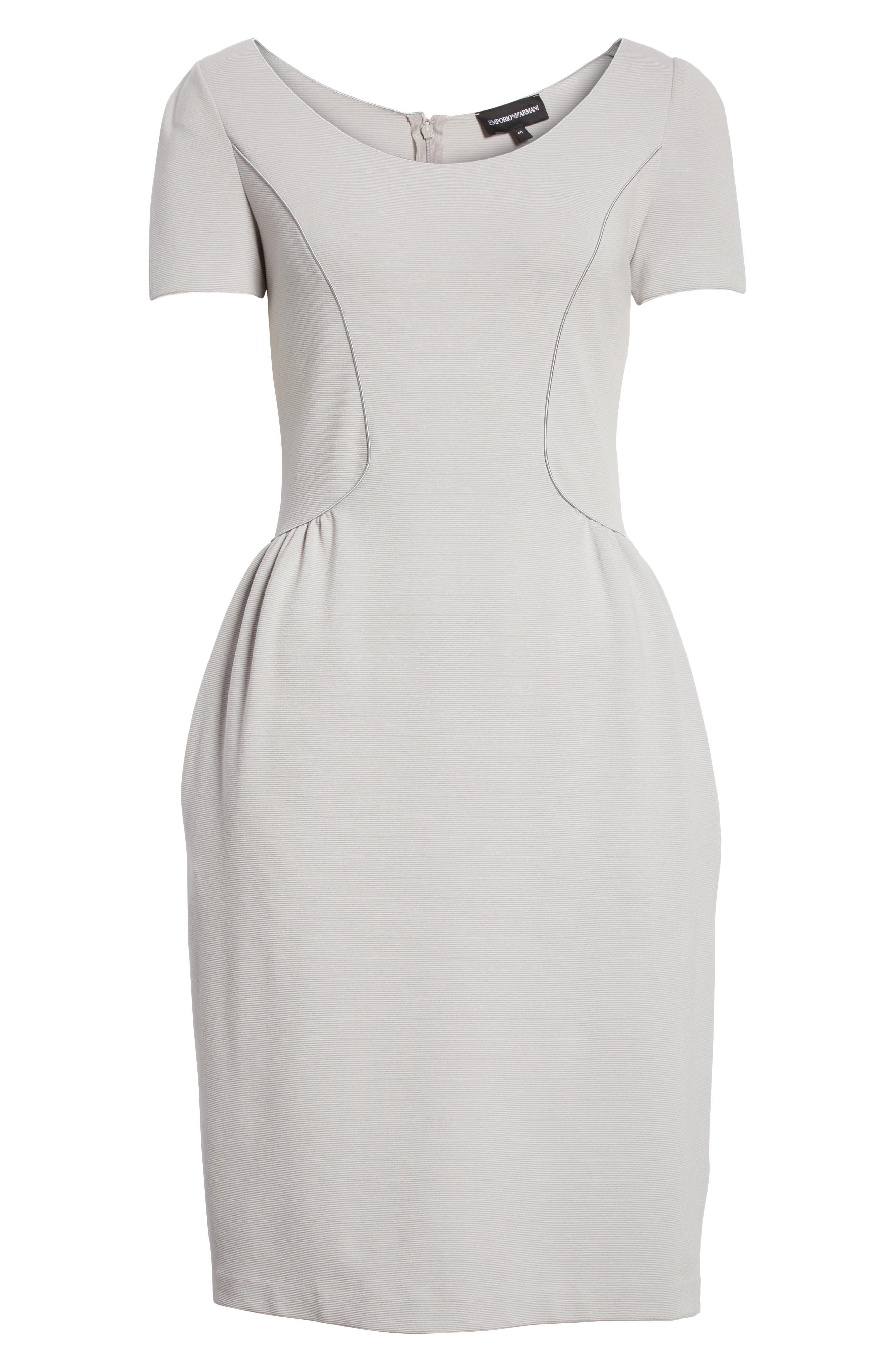 Seamed Ribbed Dress,                             Alternate thumbnail 6, color,                             Pearl Grey