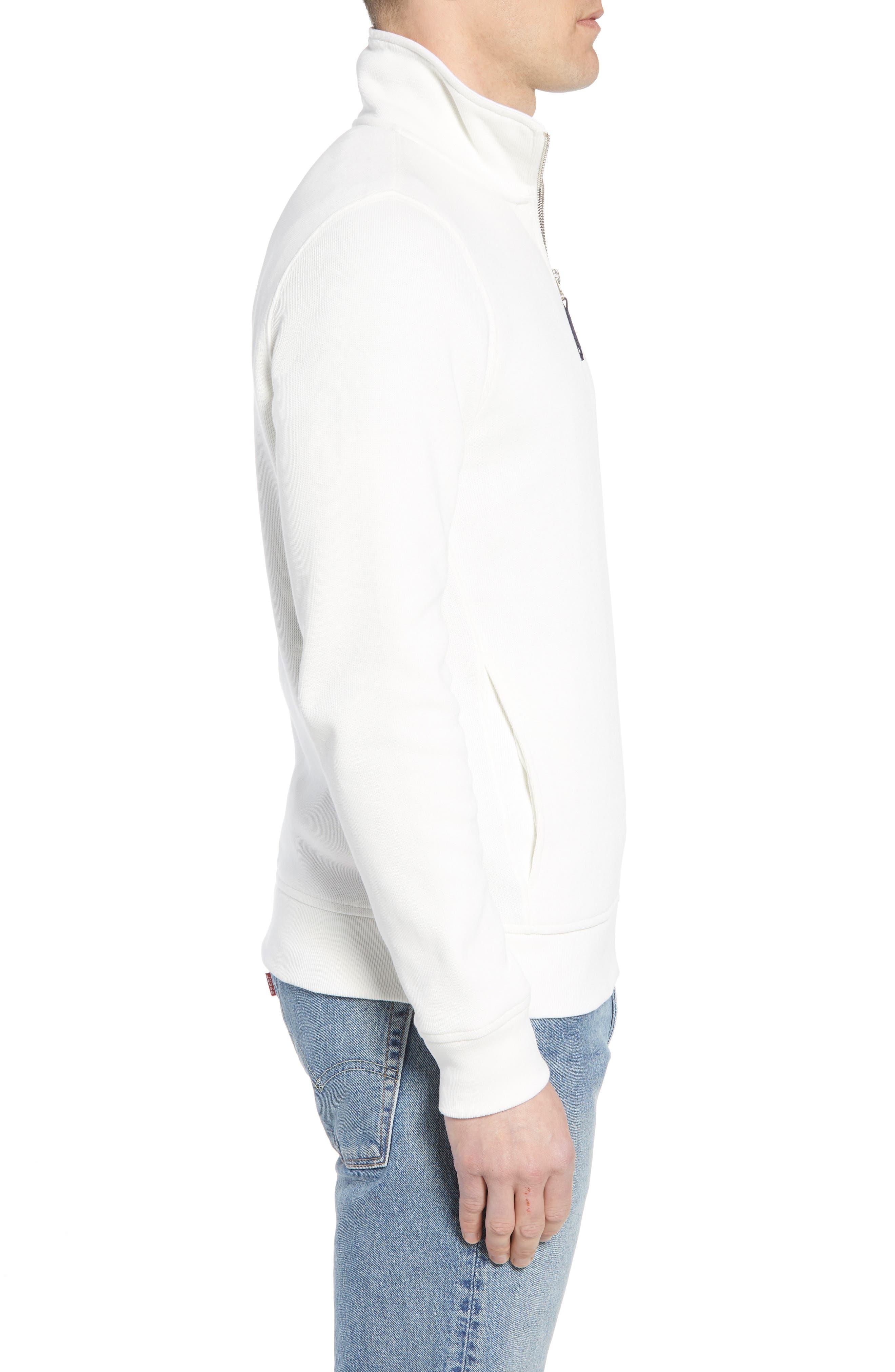 Quarter Zip Cotton Interlock Sweatshirt,                             Alternate thumbnail 3, color,                             Flour/ White