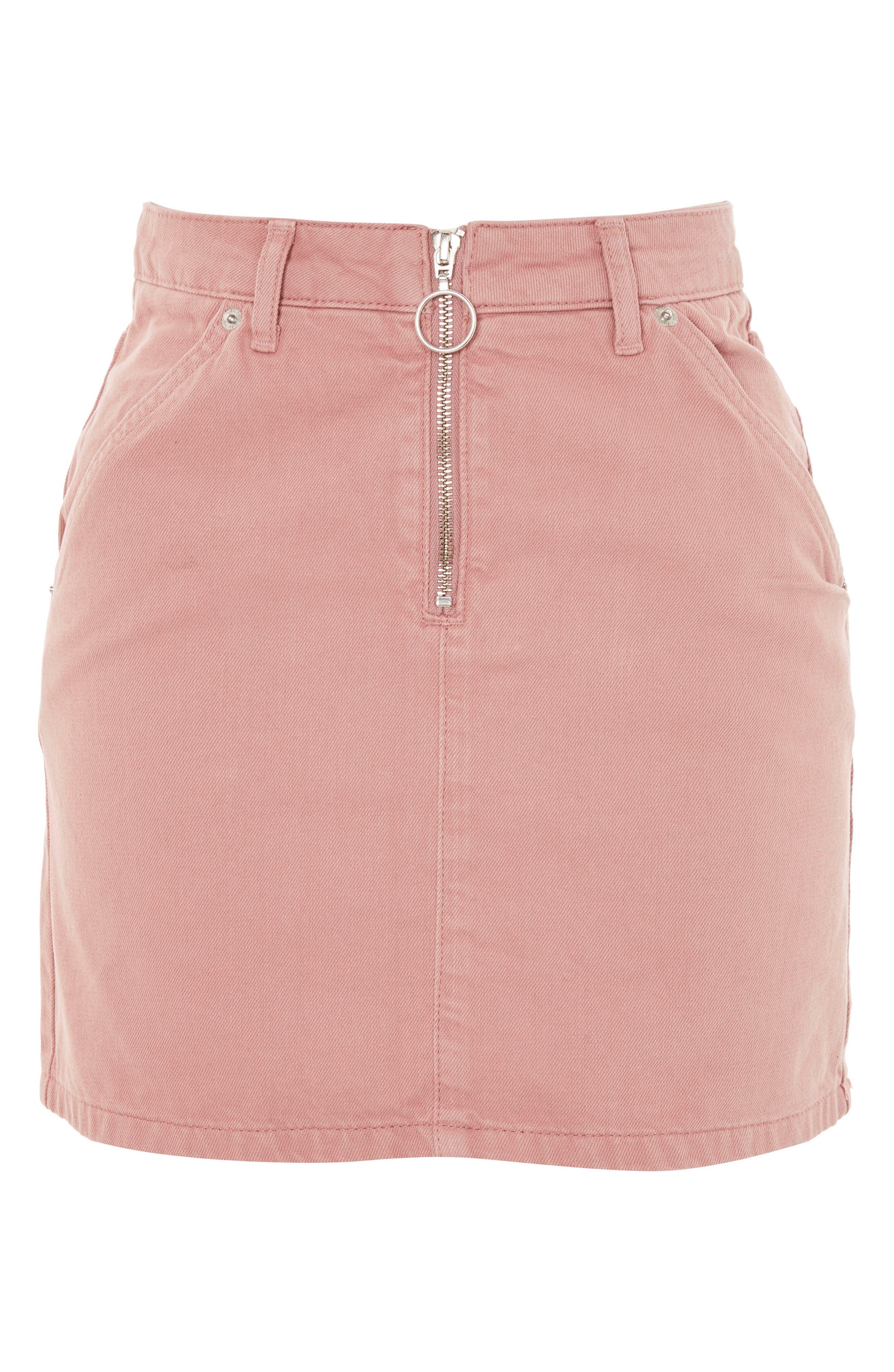 Half Zip Denim Skirt,                             Alternate thumbnail 3, color,                             Rose