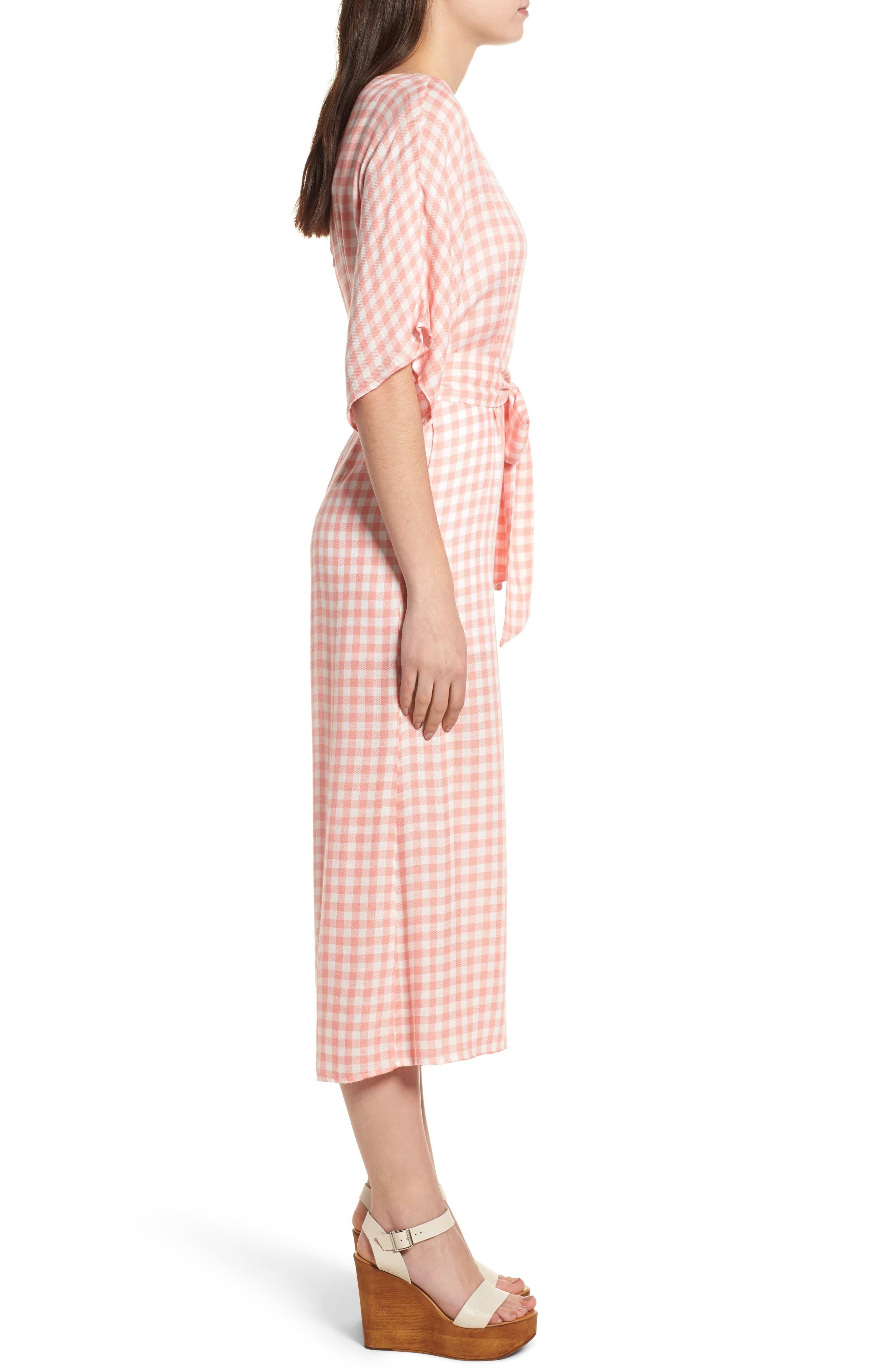 Brunch Gingham Jumpsuit,                             Alternate thumbnail 4, color,                             Grapefruit Pink