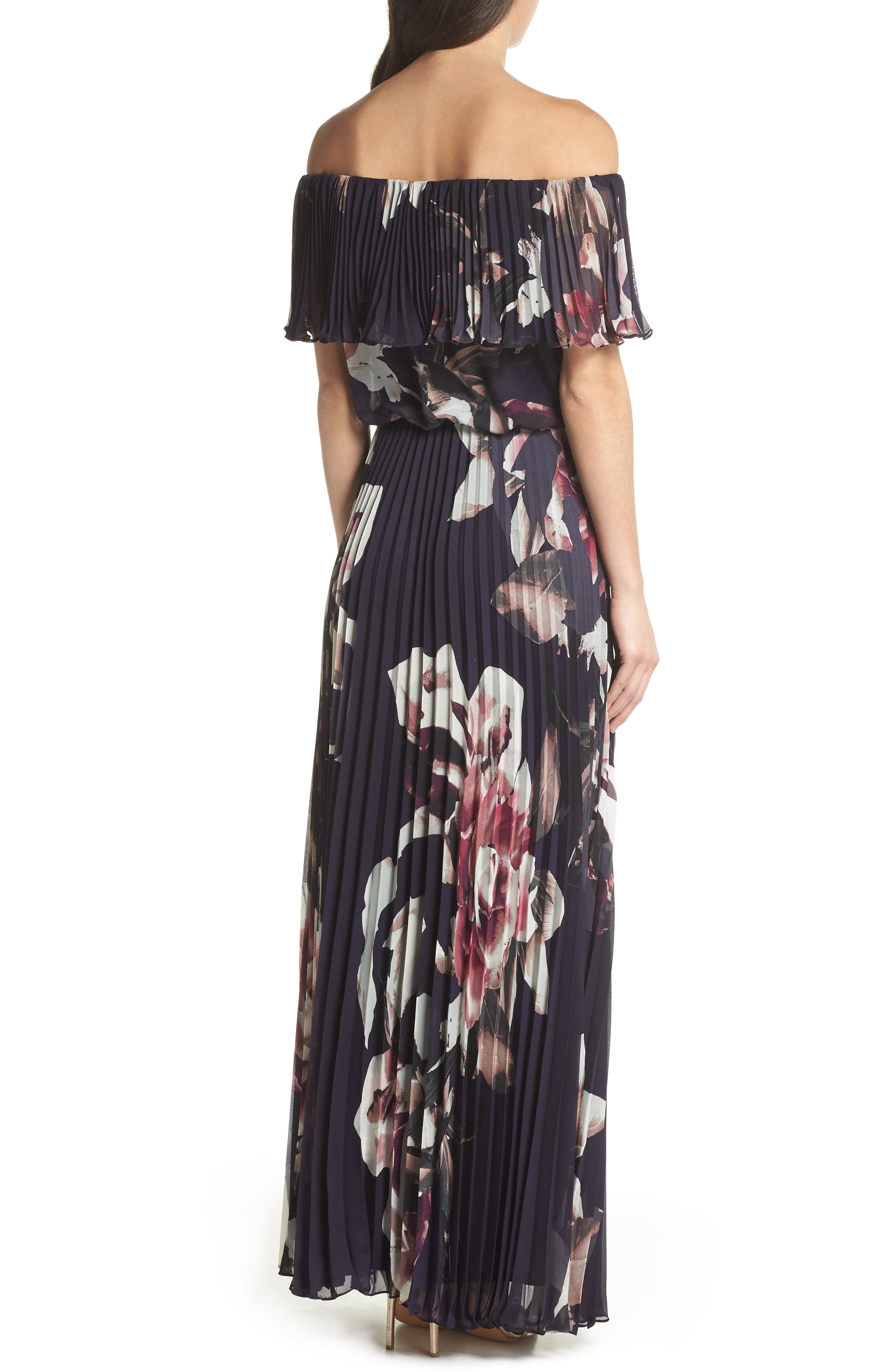 Off the Shoulder Ruffle Gown,                             Alternate thumbnail 2, color,                             Navy/ Pink