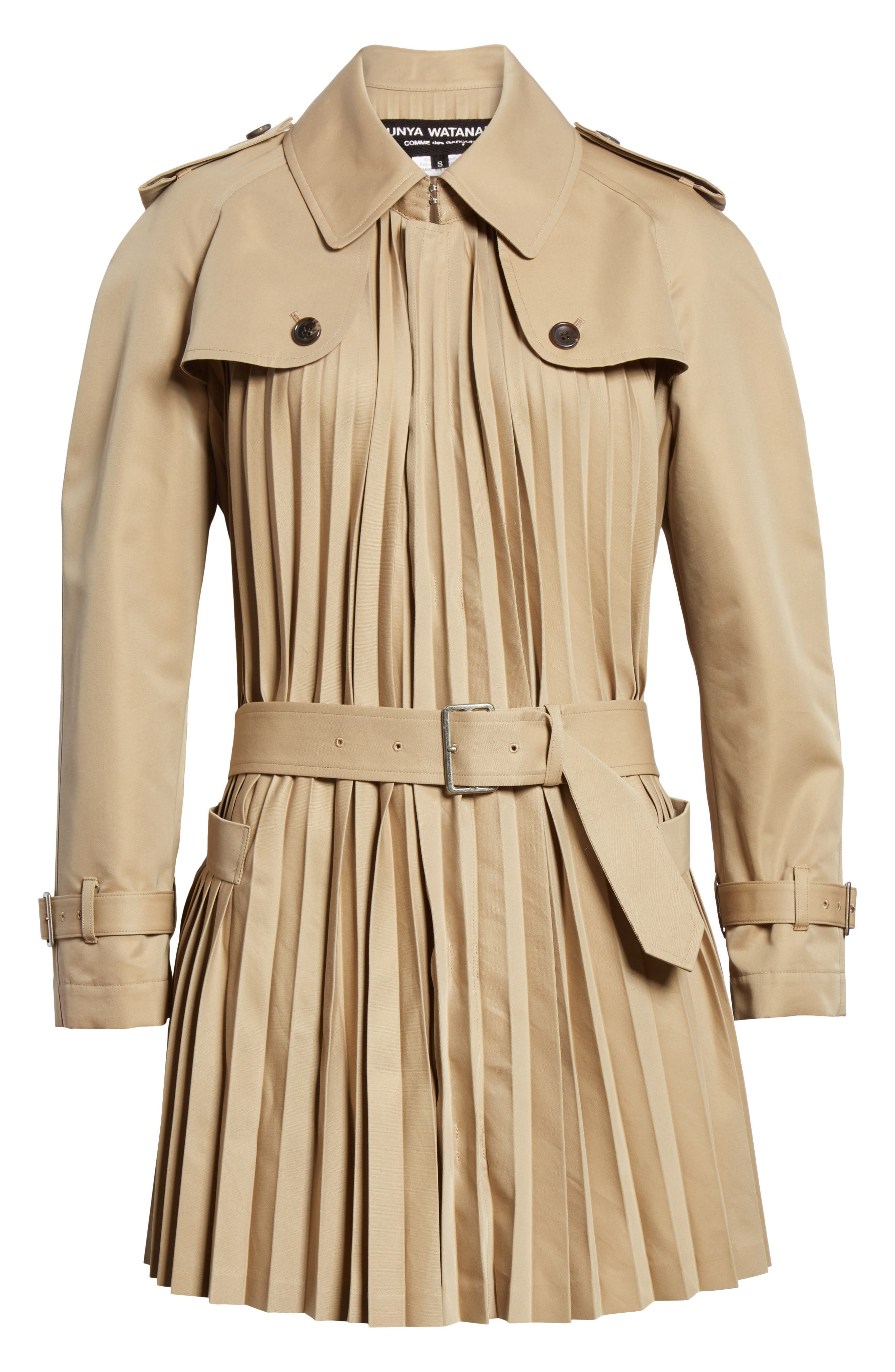 Pleated Cotton Blend Trench Coat,                             Alternate thumbnail 6, color,                             Beige