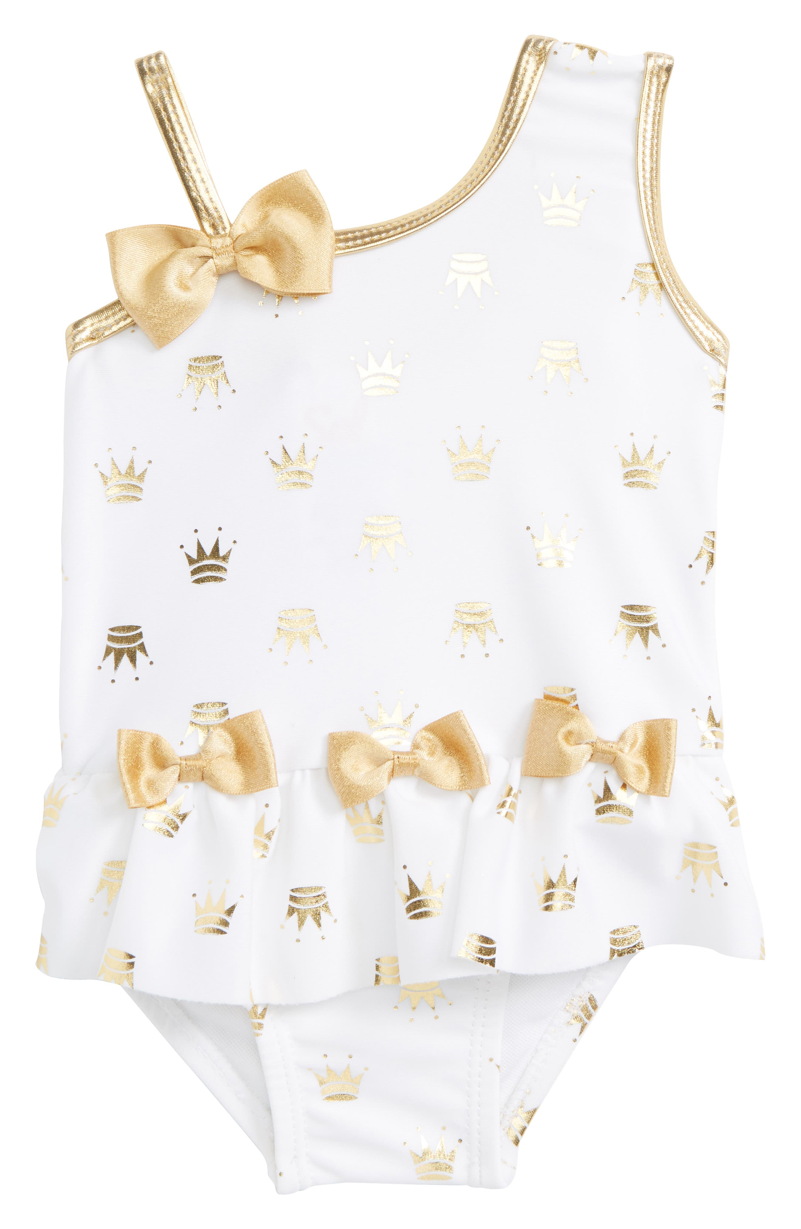 Gold Princess One-Piece Swimsuit,                         Main,                         color, White