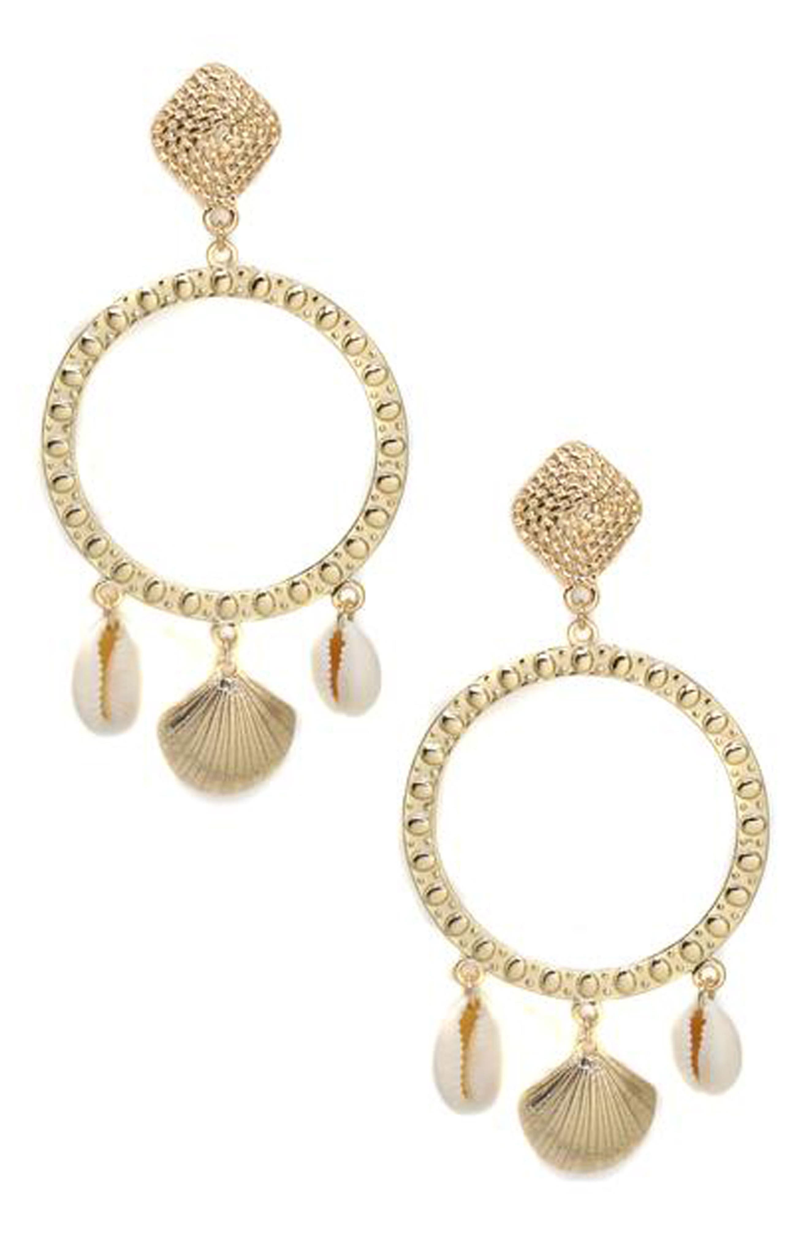 Shell Statement Earrings,                         Main,                         color, Gold