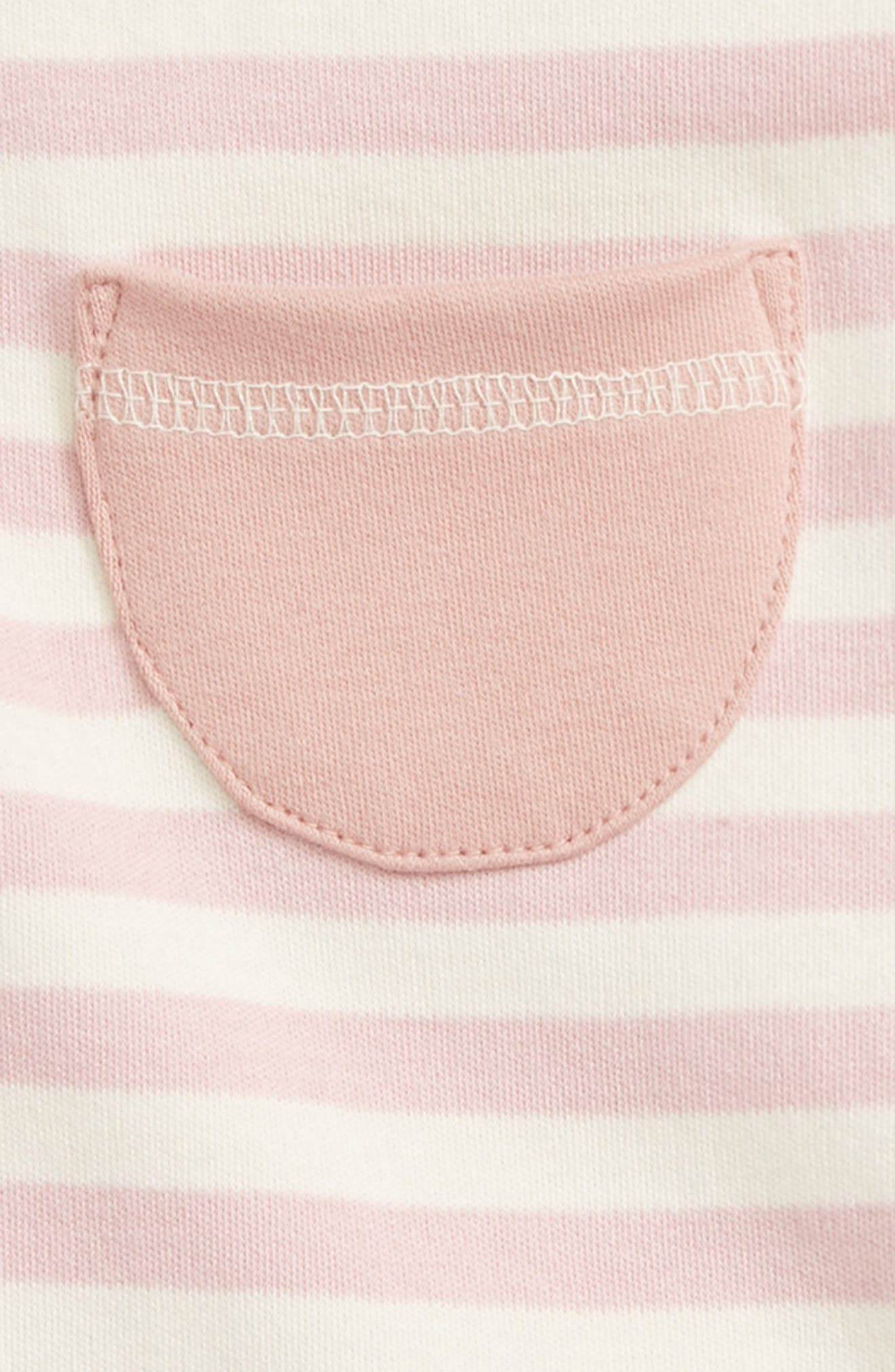Stripe Organic Cotton Harem Romper,                             Alternate thumbnail 2, color,                             Mauve/ Beige