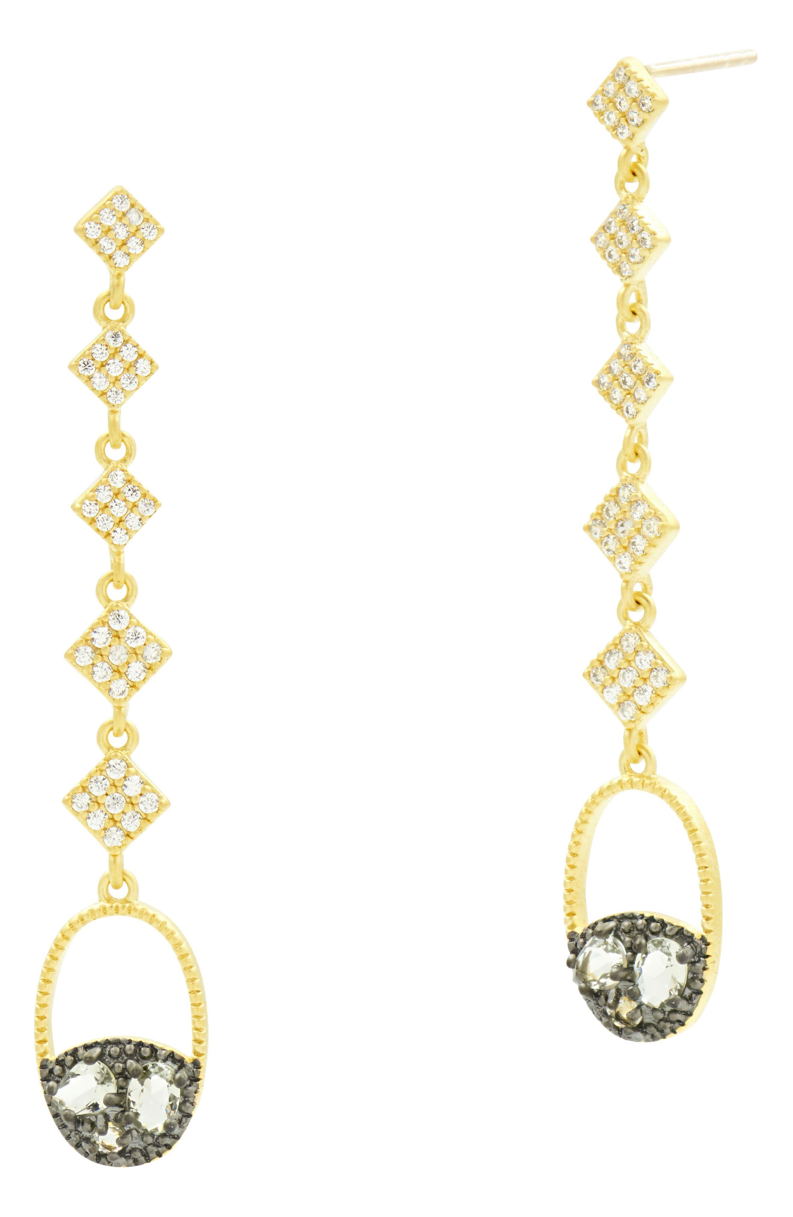 Rose Dor Drop Earrings,                         Main,                         color, Black/ Gold