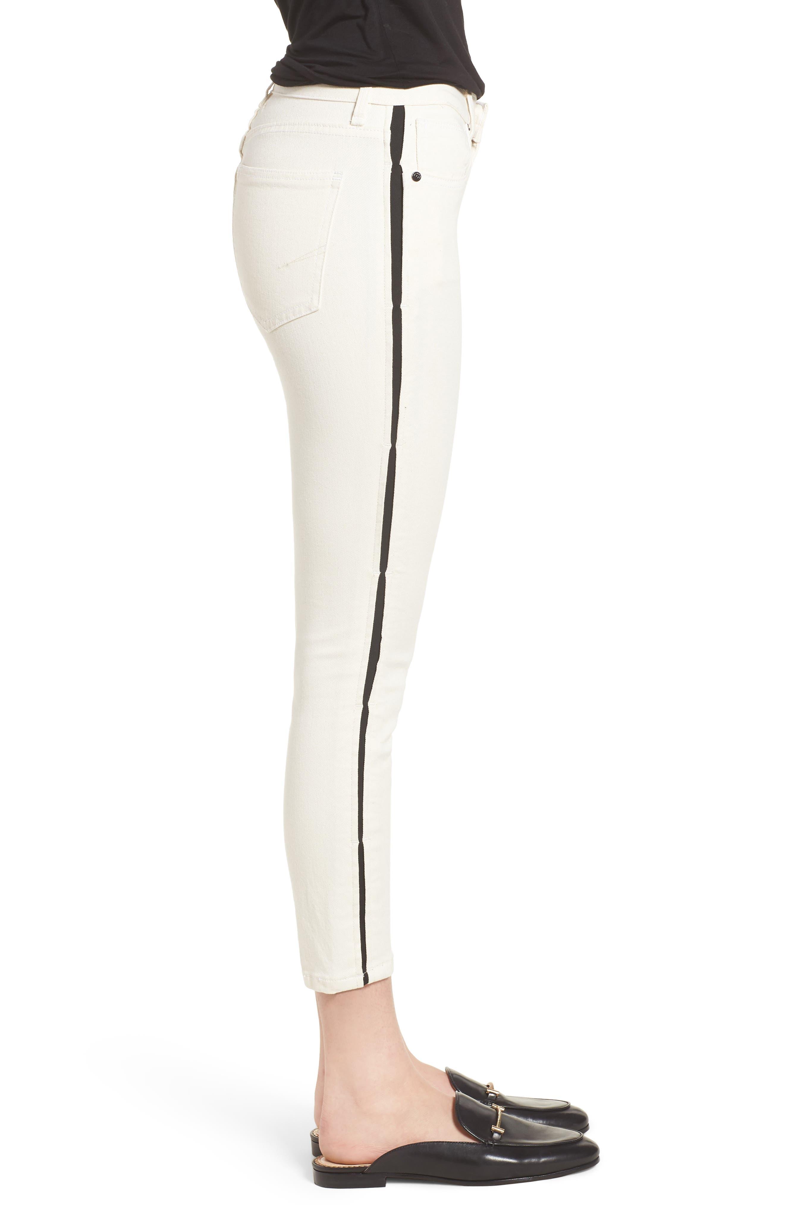 Demi Inset Stripe Skinny Jeans,                             Alternate thumbnail 3, color,                             Natural