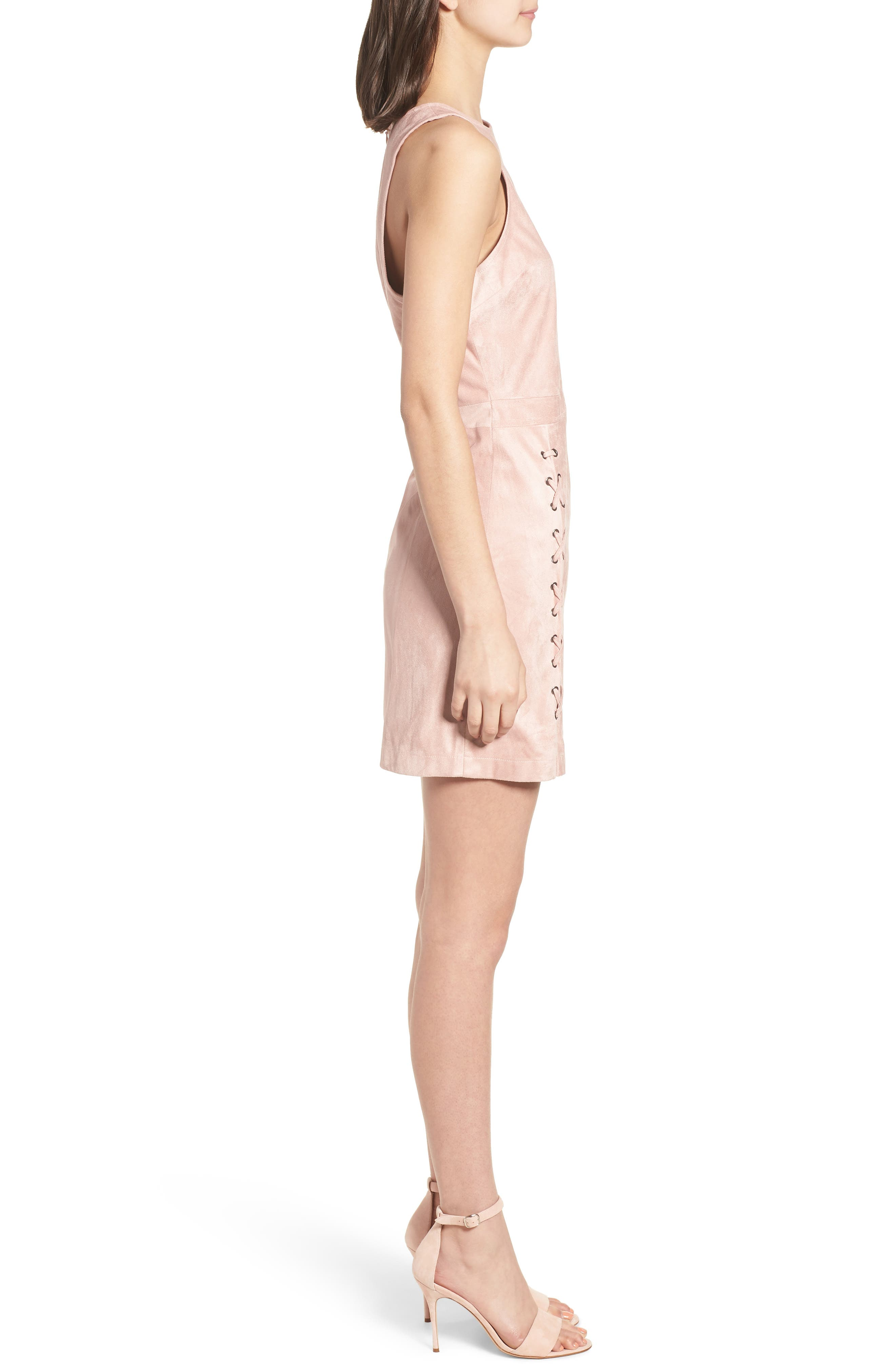 Daton Faux Suede Dress,                             Alternate thumbnail 3, color,                             Nude Pink
