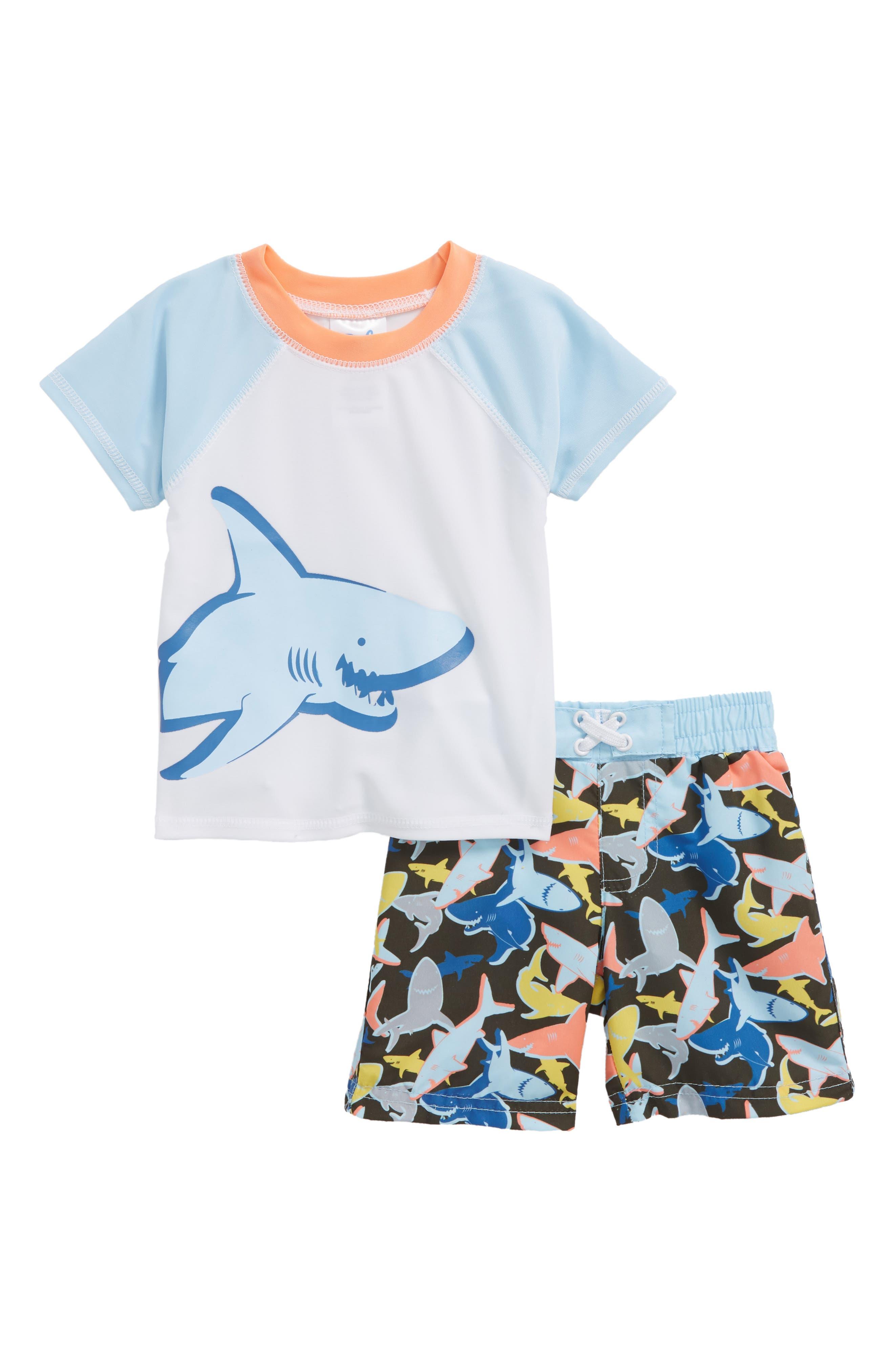 Friendly Shark Collison Two-Piece Rashguard Swimsuit,                             Main thumbnail 1, color,                             White Multi