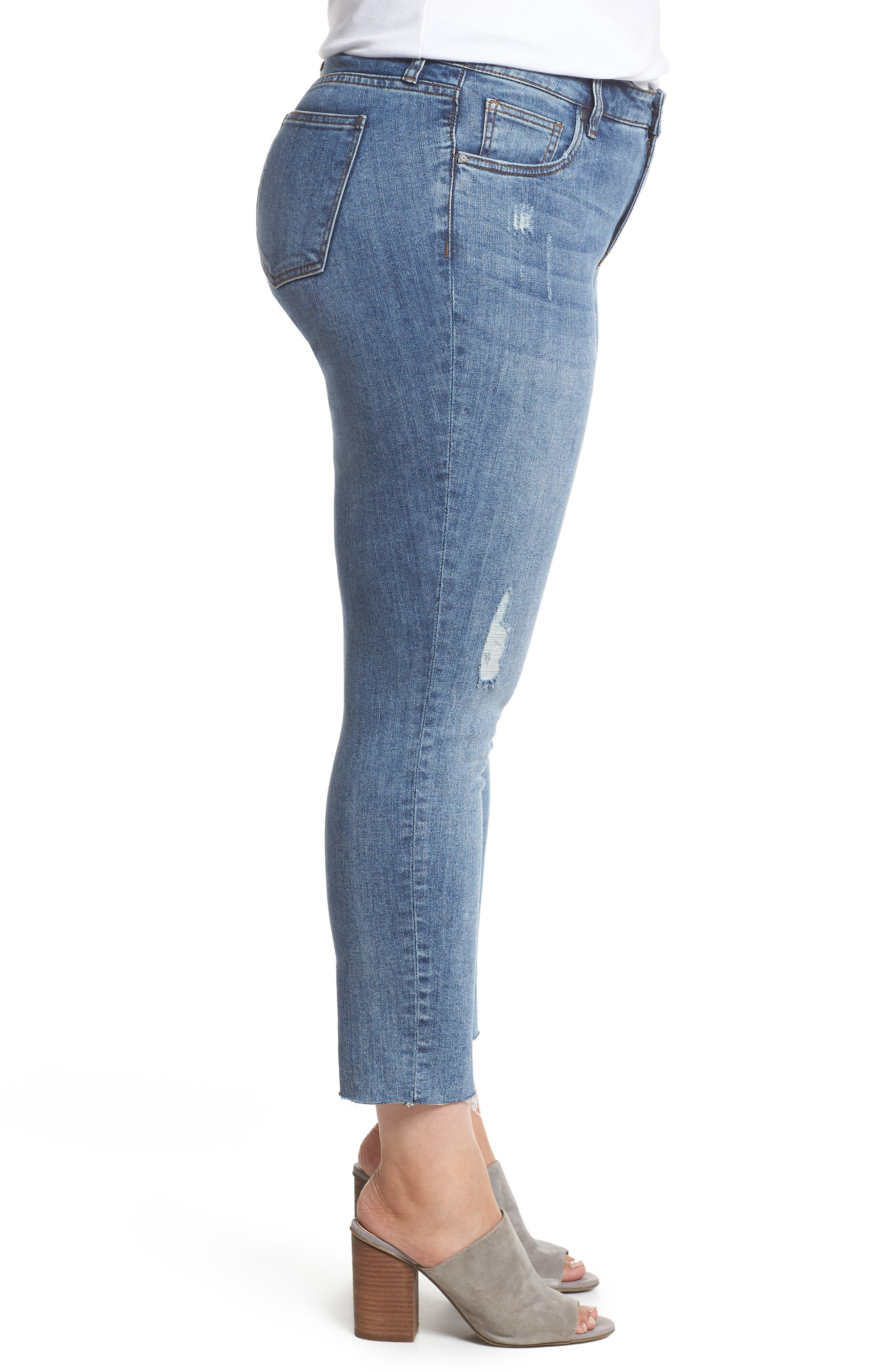 Reese Distressed Ankle Straight Leg Jeans,                             Alternate thumbnail 3, color,                             Appointed