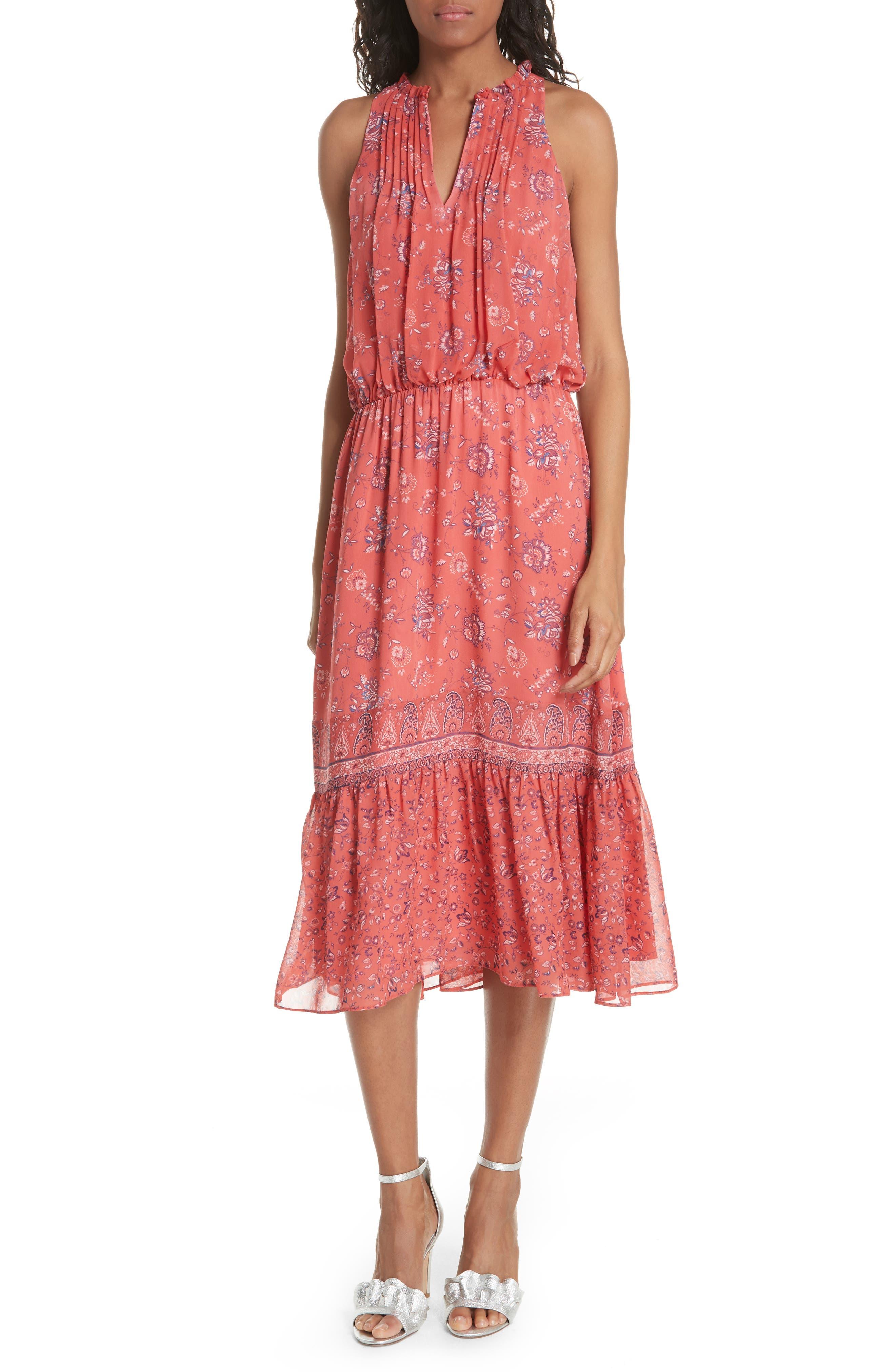 Joie Chara Print Silk Midi Dress