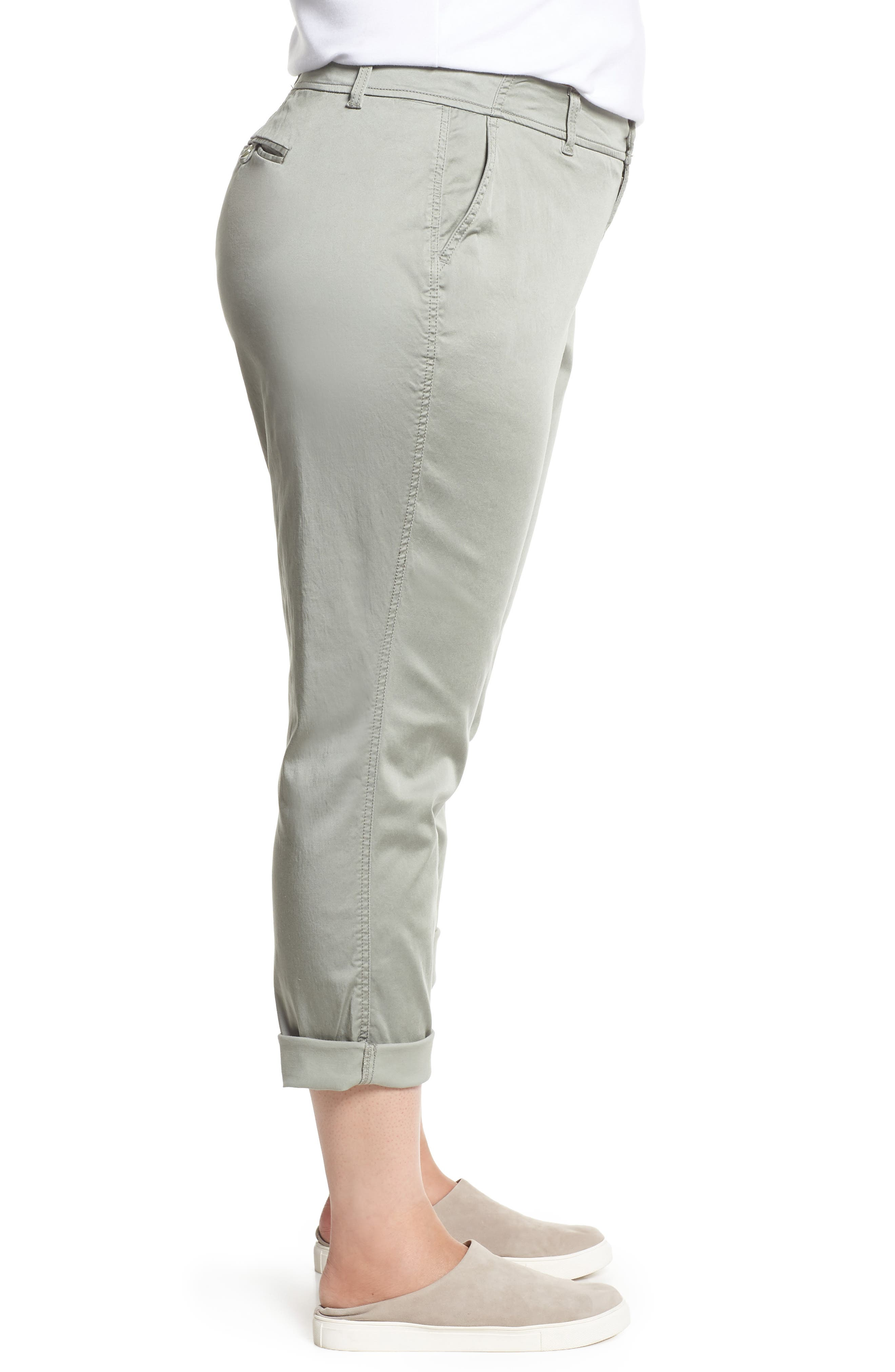 Stretch Cotton Blend Pants,                             Alternate thumbnail 3, color,                             Faded Seagrass