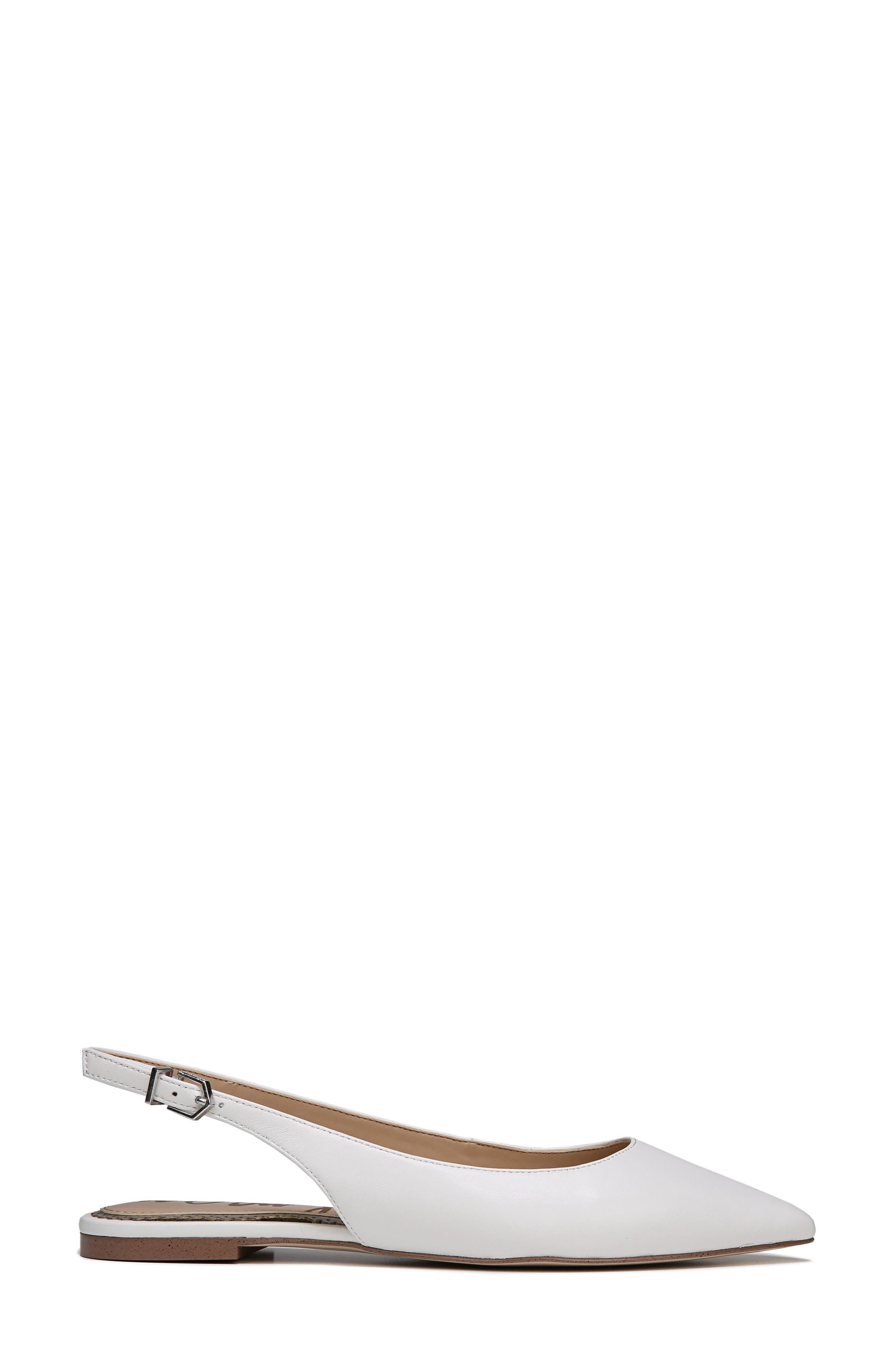Raya Slingback Flat,                             Alternate thumbnail 3, color,                             Bright White Leather