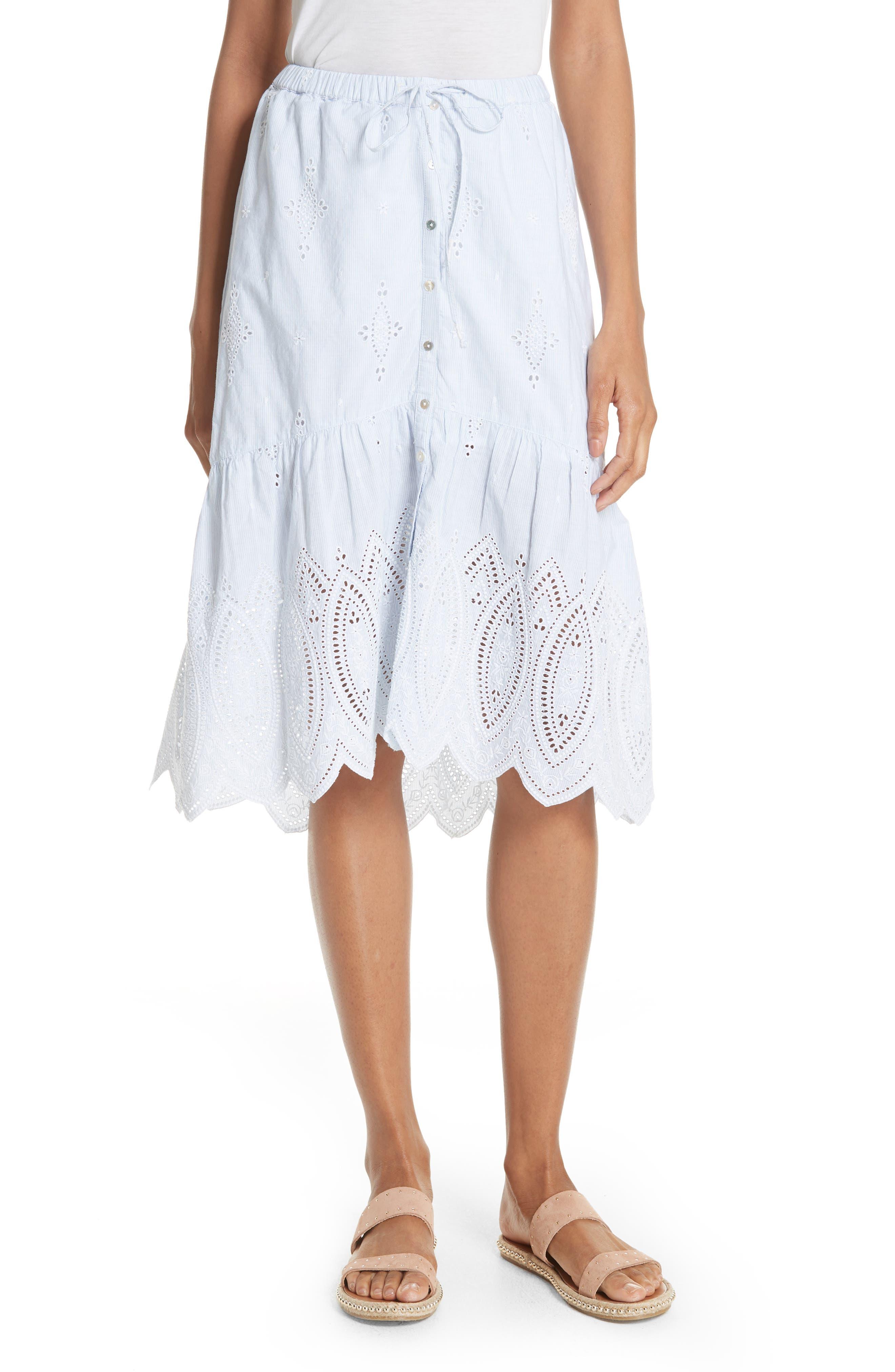 Chantoya Eyelet Scallop Hem Cotton Skirt,                             Main thumbnail 1, color,                             Desert Sky