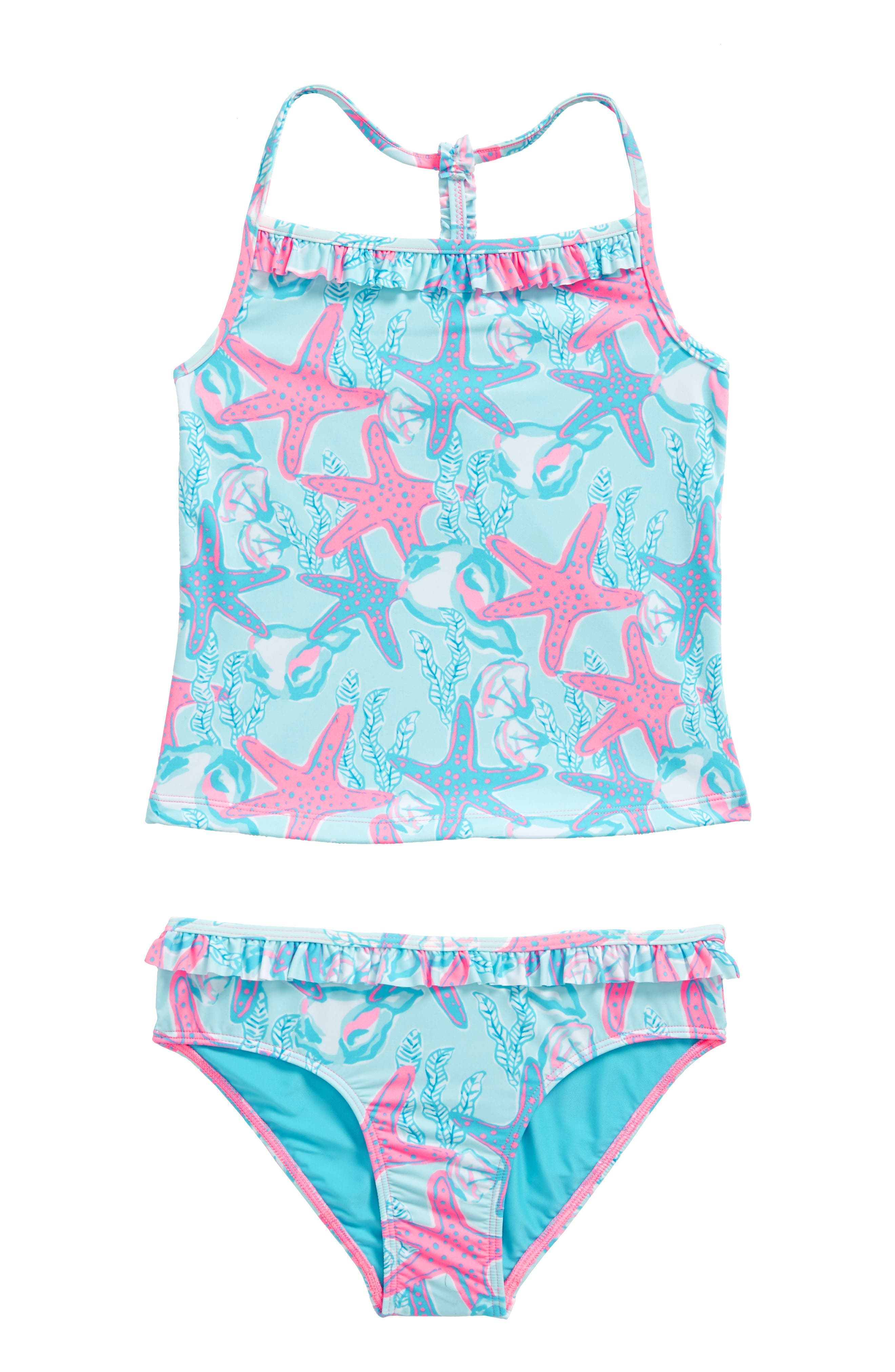 Starfish and Conch Ruffle Two-Piece Swimsuit,                         Main,                         color, Beachcomber Blue