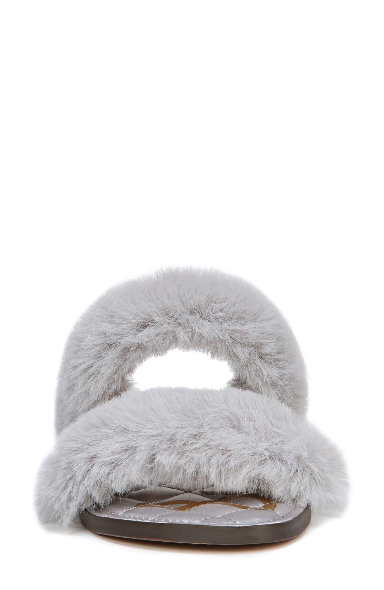 Griselda Faux Fur Slide Sandal,                             Alternate thumbnail 4, color,                             Light Grey Faux Fur