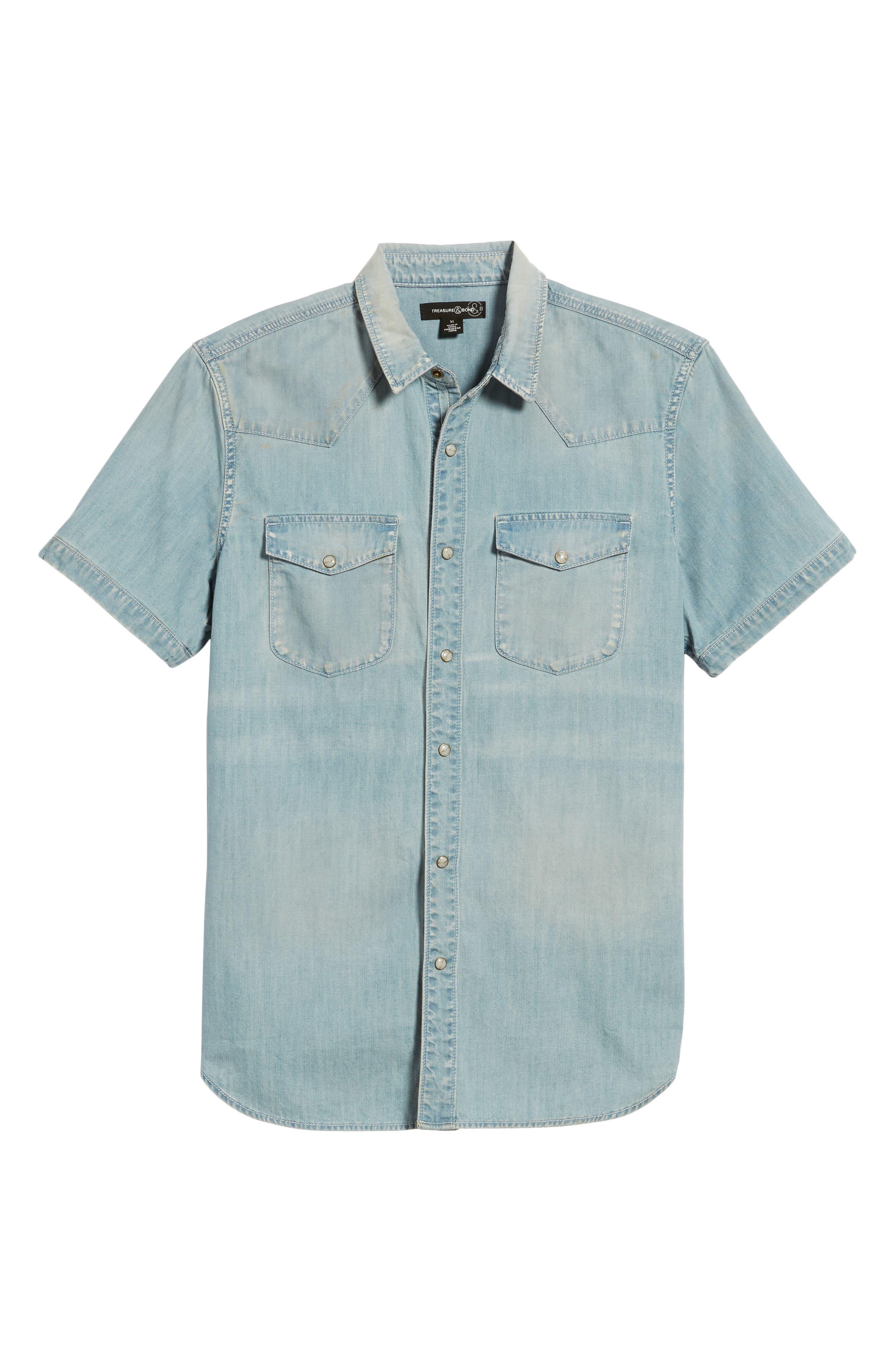 Slim Fit Western Denim Shirt,                             Alternate thumbnail 6, color,                             Blue Light Vintage Wash