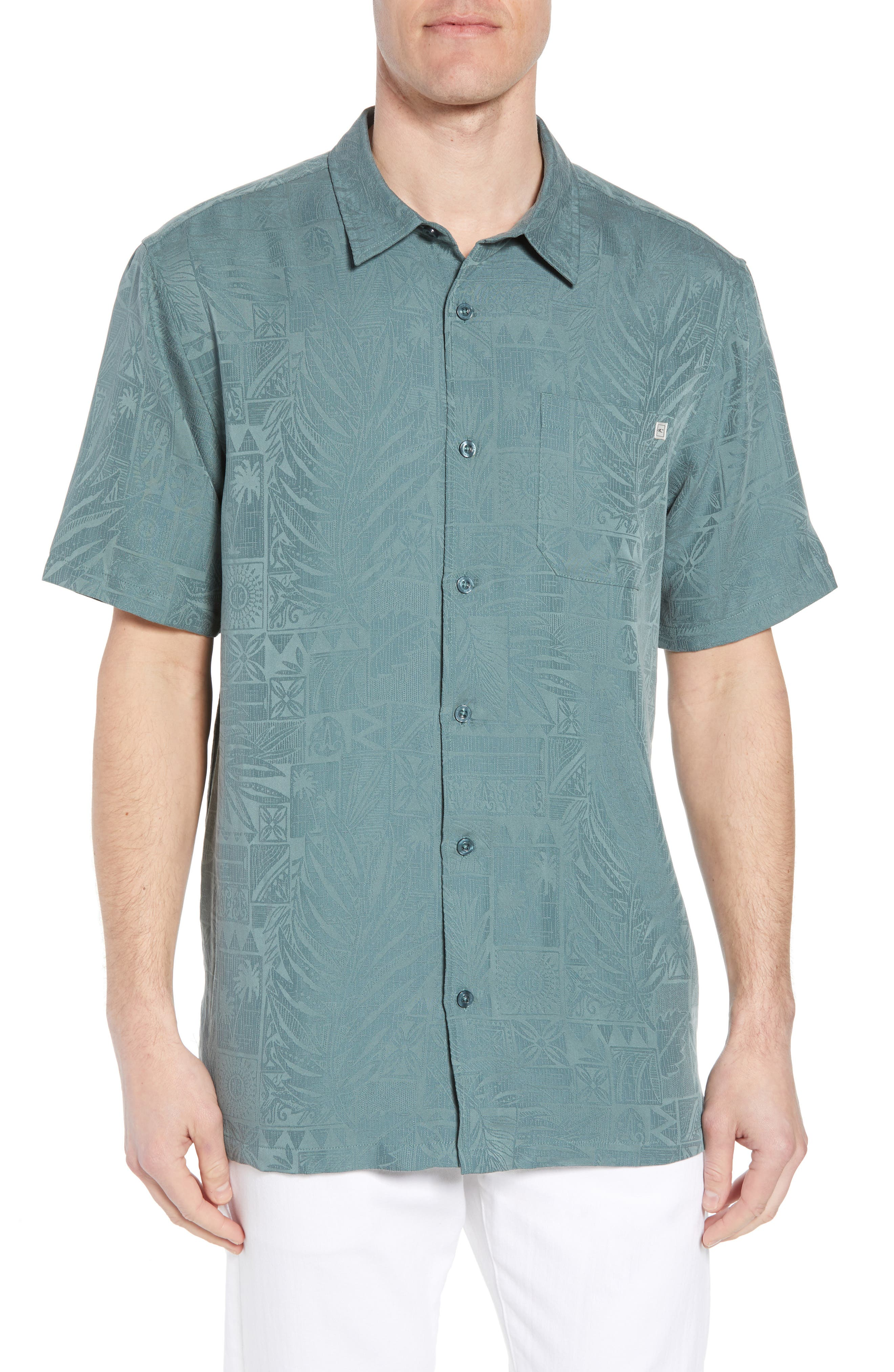 Island Life Print Sport Shirt,                             Main thumbnail 1, color,                             Dark Sea Glass