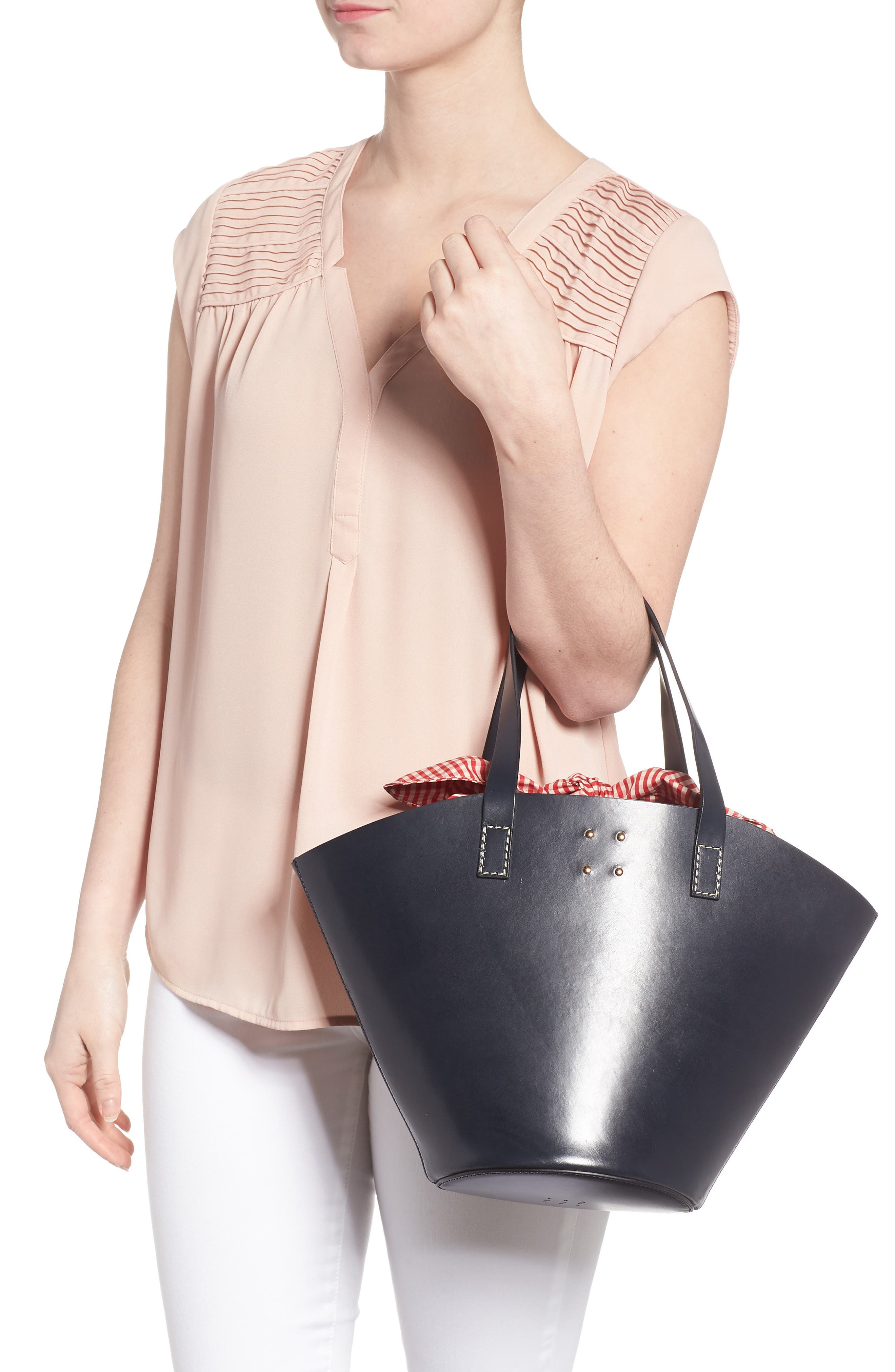 Large Leather Bucket Bag,                             Alternate thumbnail 2, color,                             Dark Navy