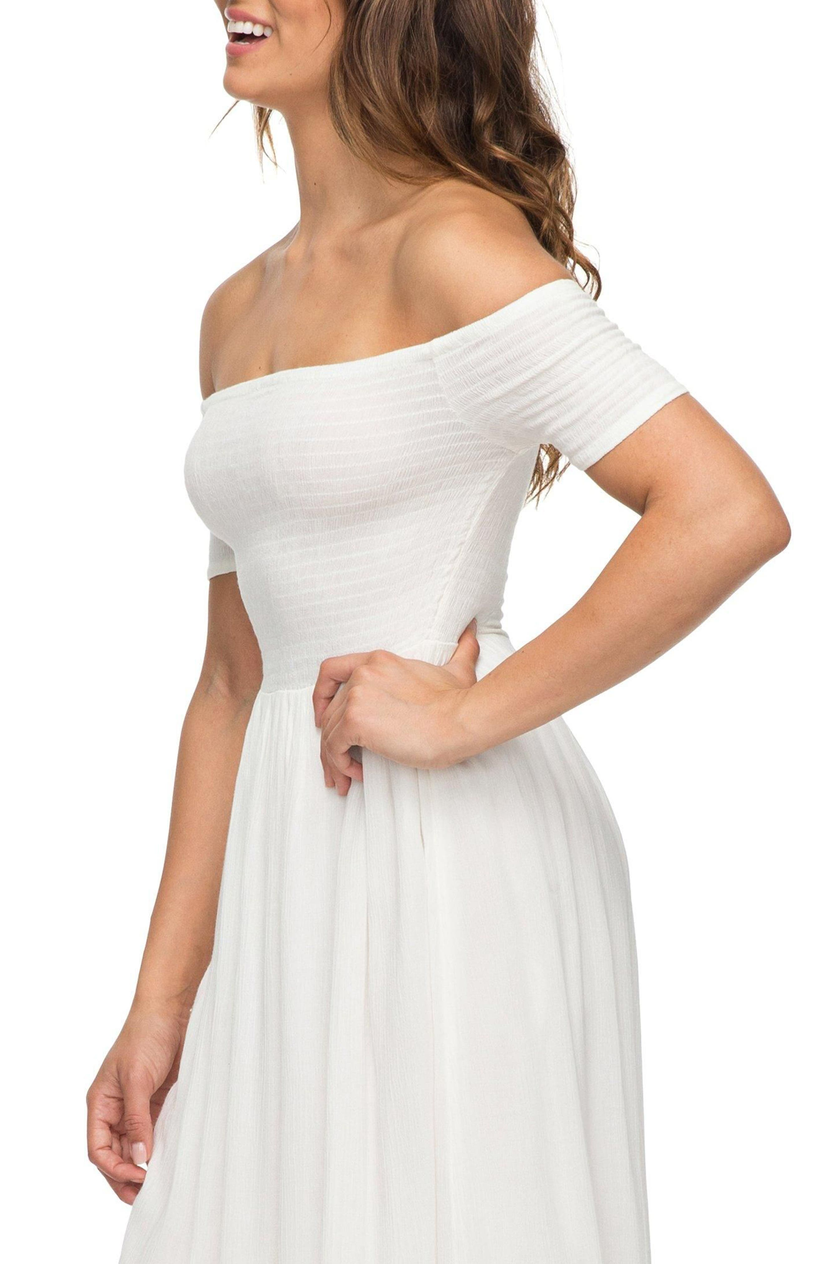 Pretty Lovers Off the Shoulder Midi Dress,                             Alternate thumbnail 3, color,                             Marshmallow1