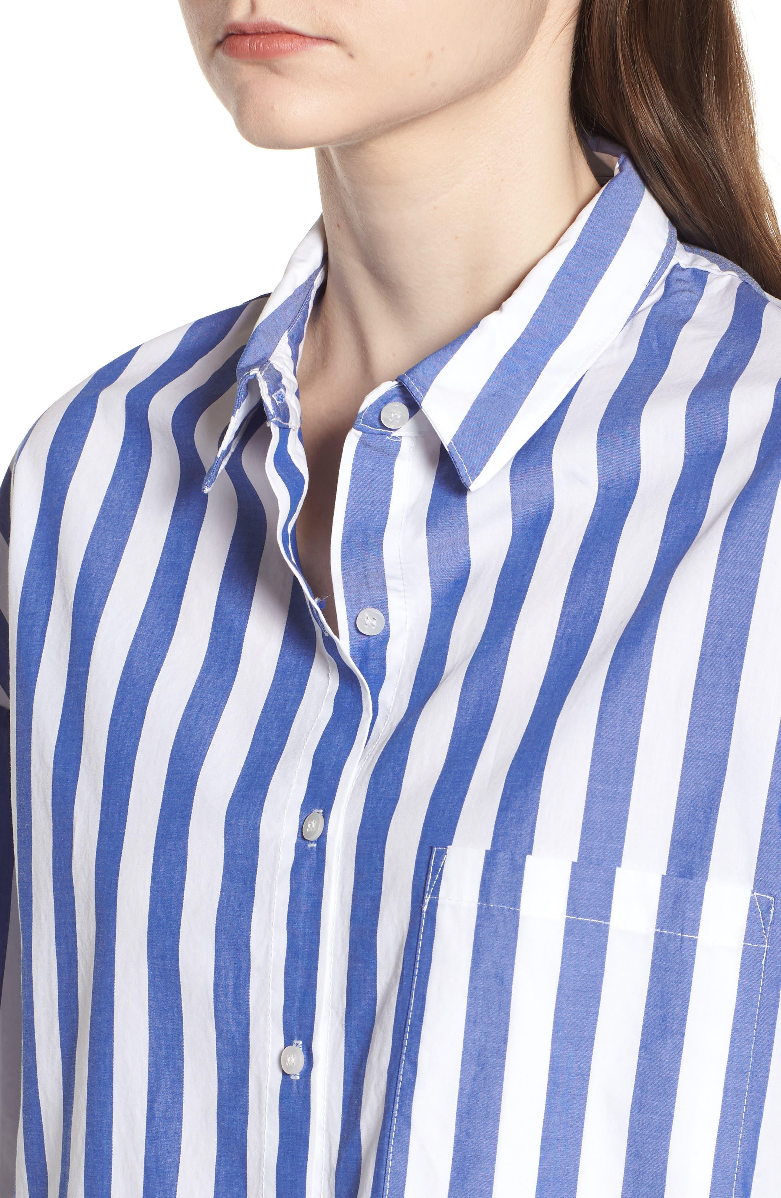 Stripe Oversize Shirt,                             Alternate thumbnail 4, color,                             Blue Stripe
