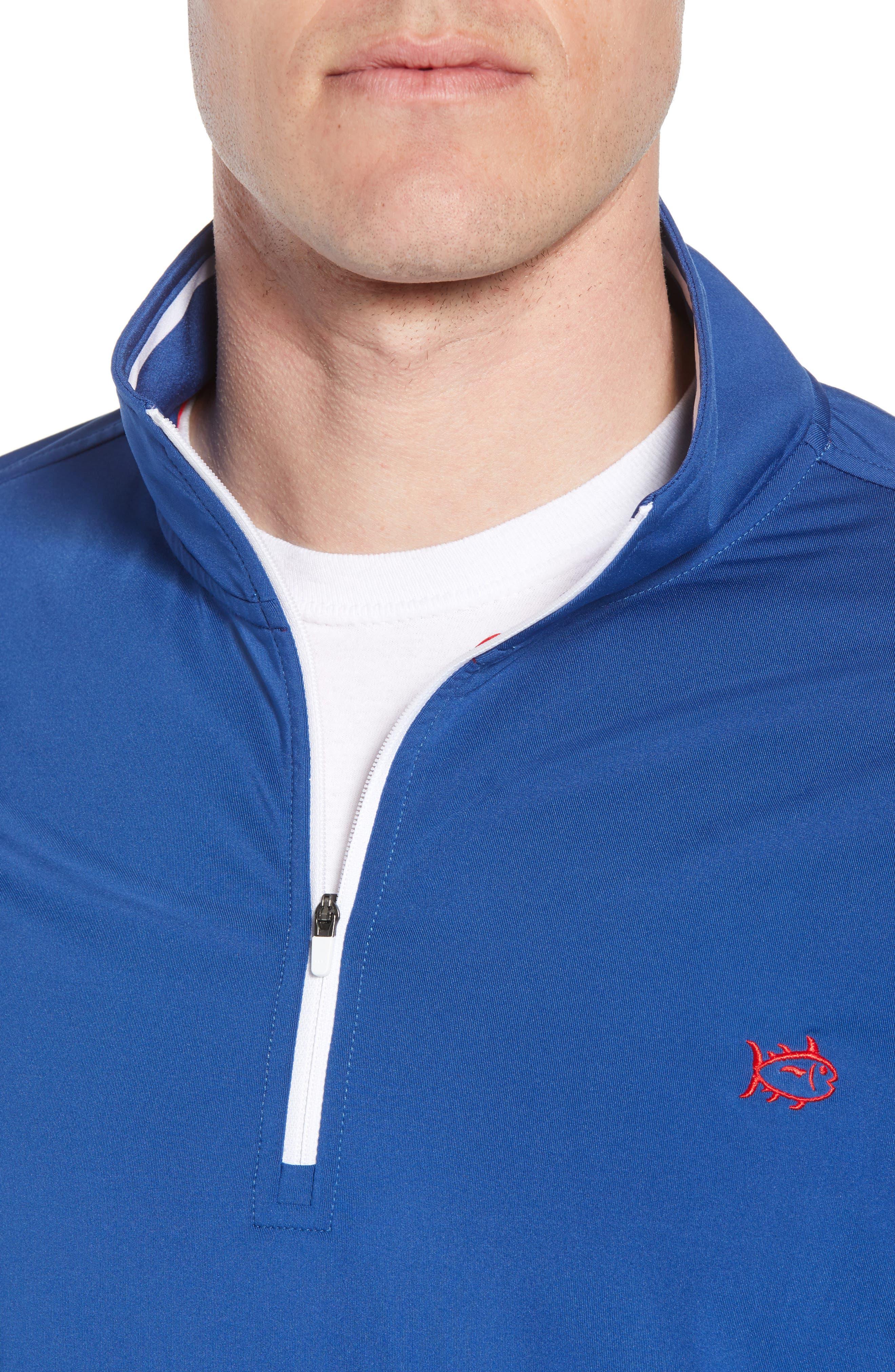 USA Performance Quarter-Zip Pullover,                             Alternate thumbnail 4, color,                             Blue Lake