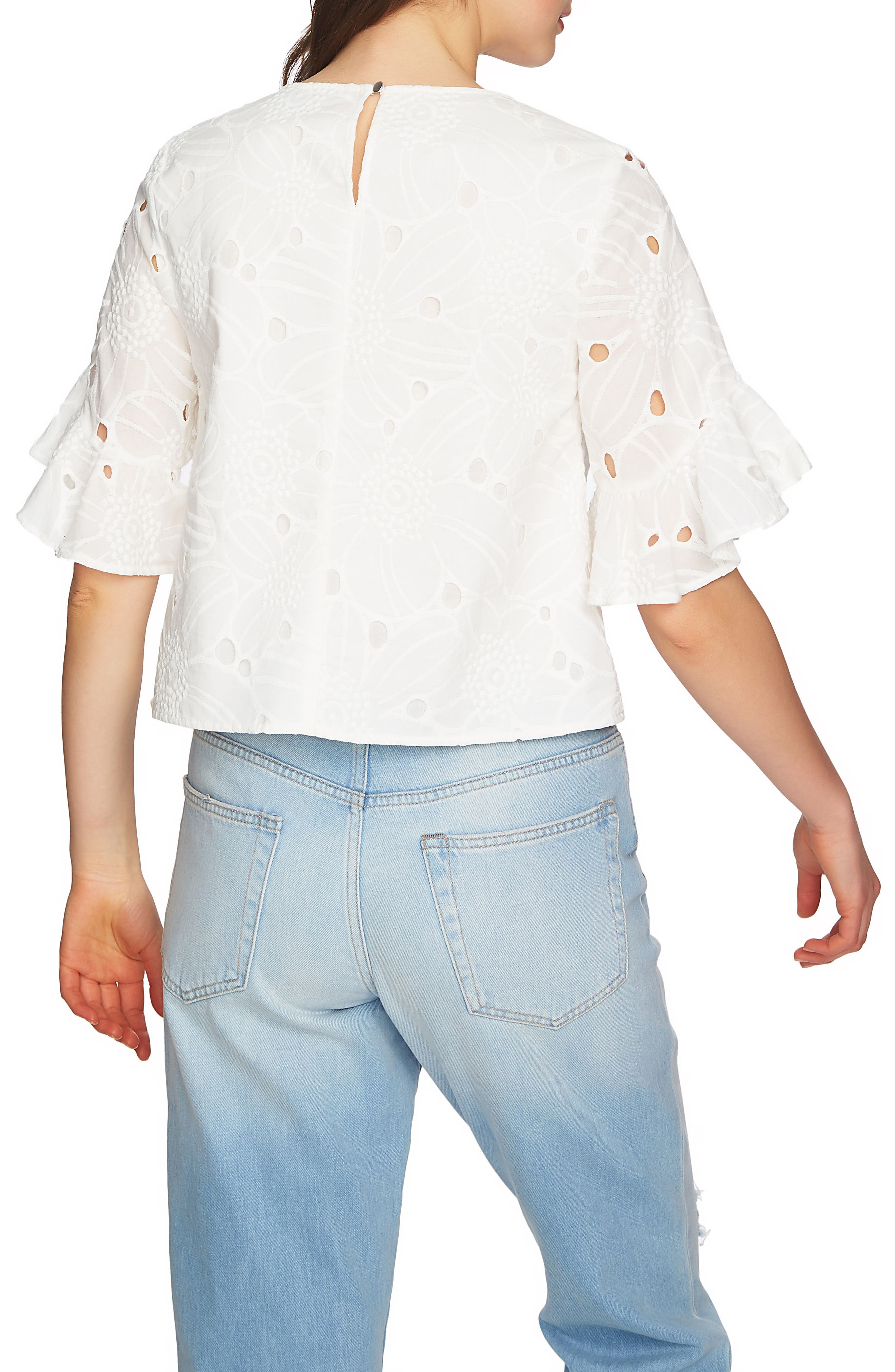 Embroidered Ruffle Eyelet Top,                             Alternate thumbnail 3, color,                             New Ivory