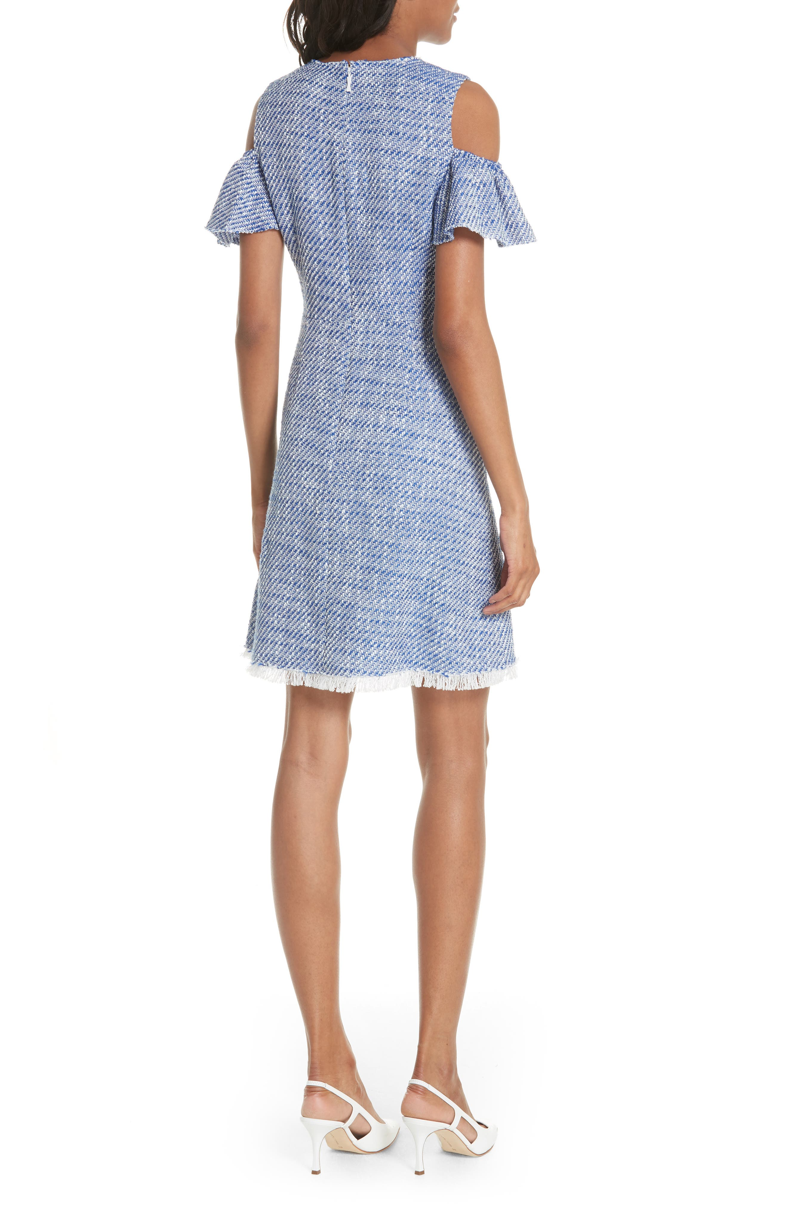 cold shoulder cotton blend tweed dress,                             Alternate thumbnail 2, color,                             French Navy/ Fresh White