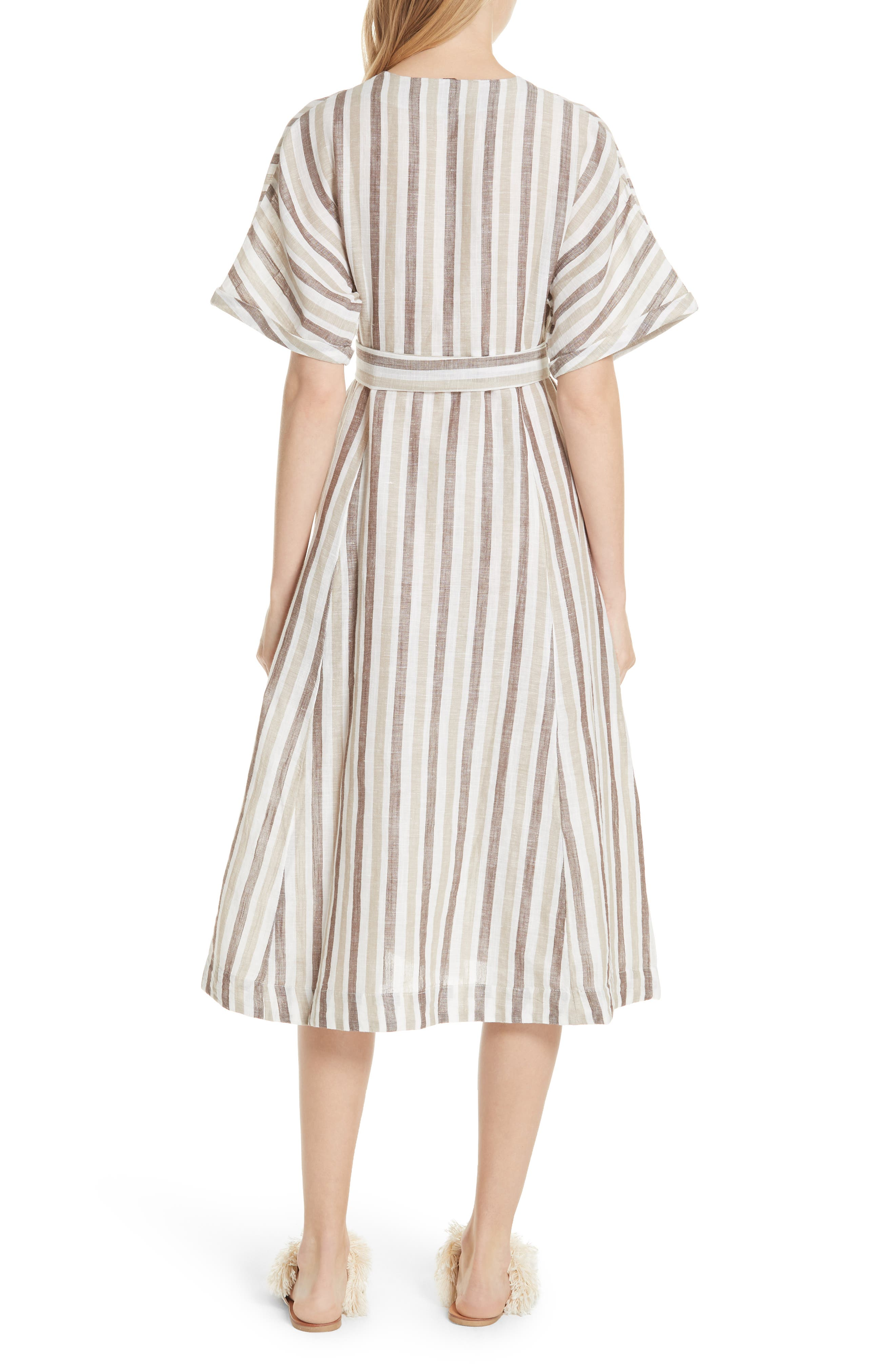 Monday Stripe Linen Blend Midi Dress,                             Alternate thumbnail 3, color,                             Light Grey