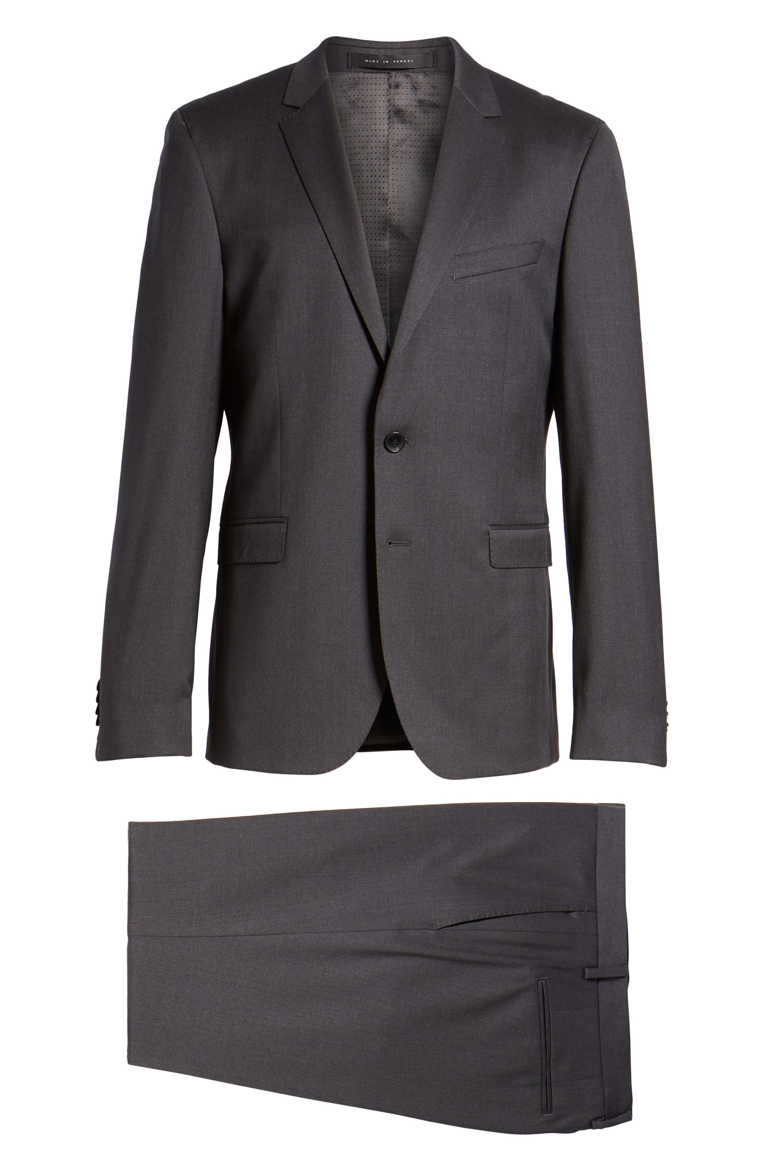 'Ryan/Win' Extra Trim Fit Solid Wool Suit,                             Alternate thumbnail 9, color,                             Dark Grey