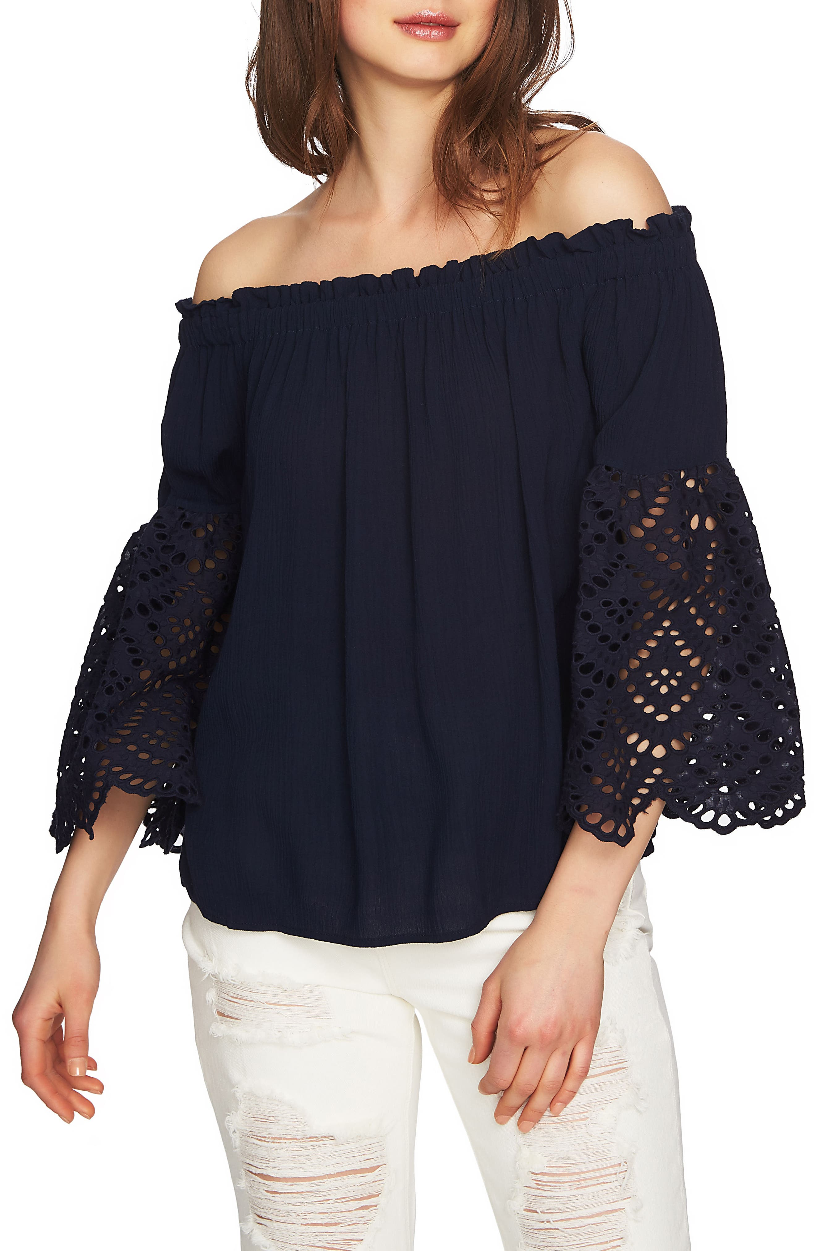Off the Shoulder Eyelet Sleeves Blouse,                         Main,                         color, Night Navy