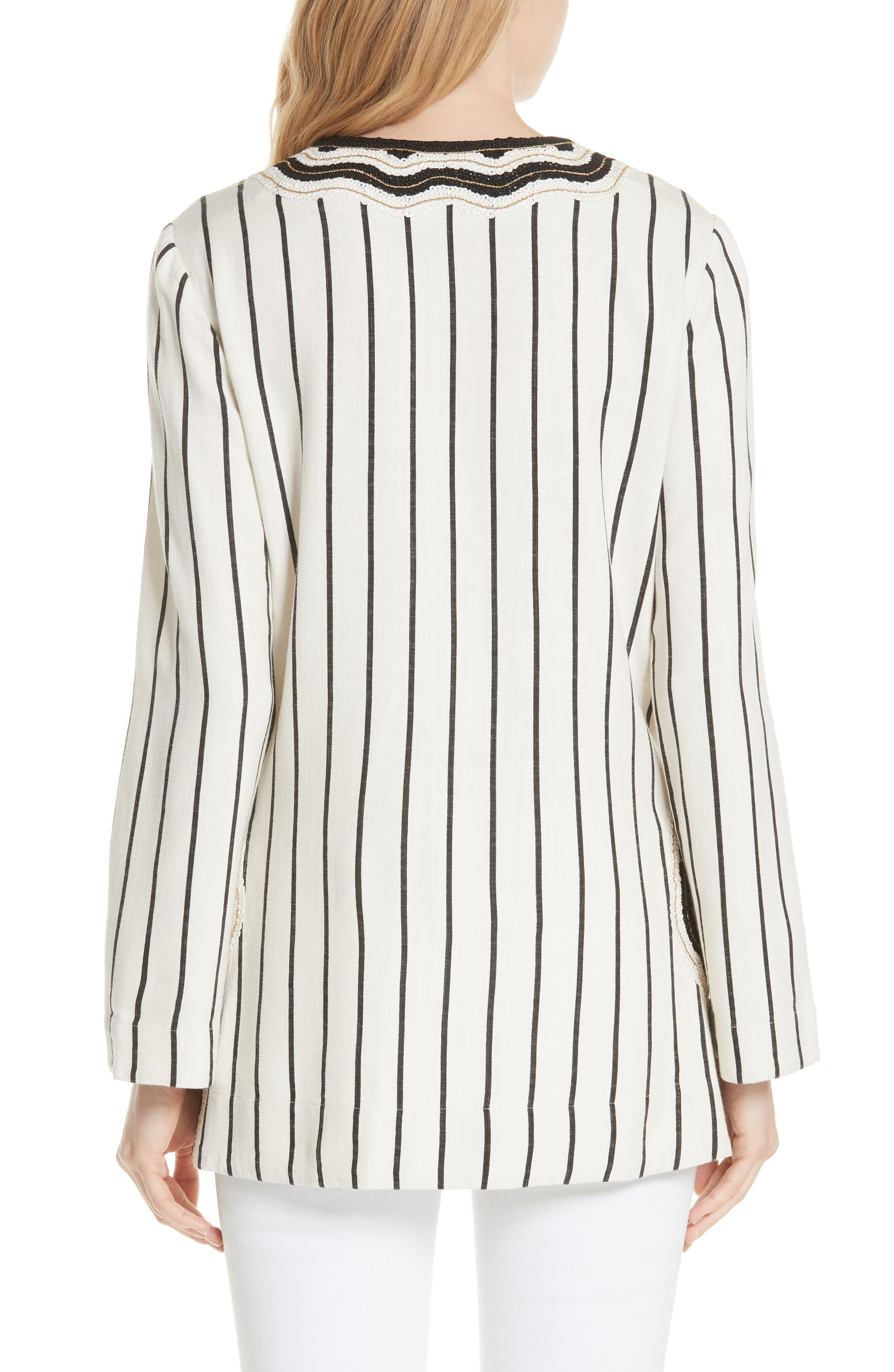 Tory Embellished Stripe Tunic,                             Alternate thumbnail 2, color,                             New Ivory/ Black