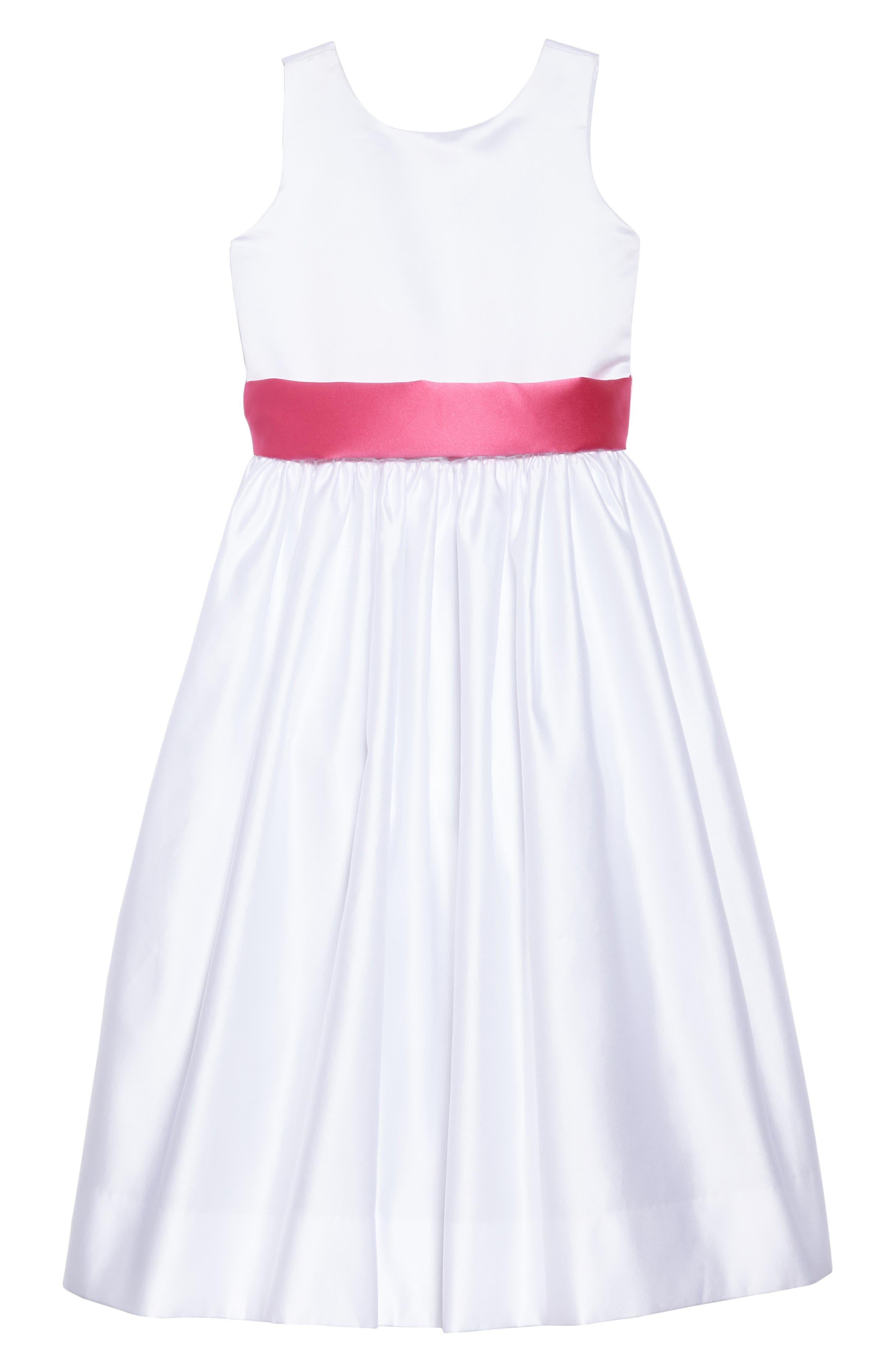 White Tank Dress with Satin Sash,                         Main,                         color, White/ Fuchsia 2