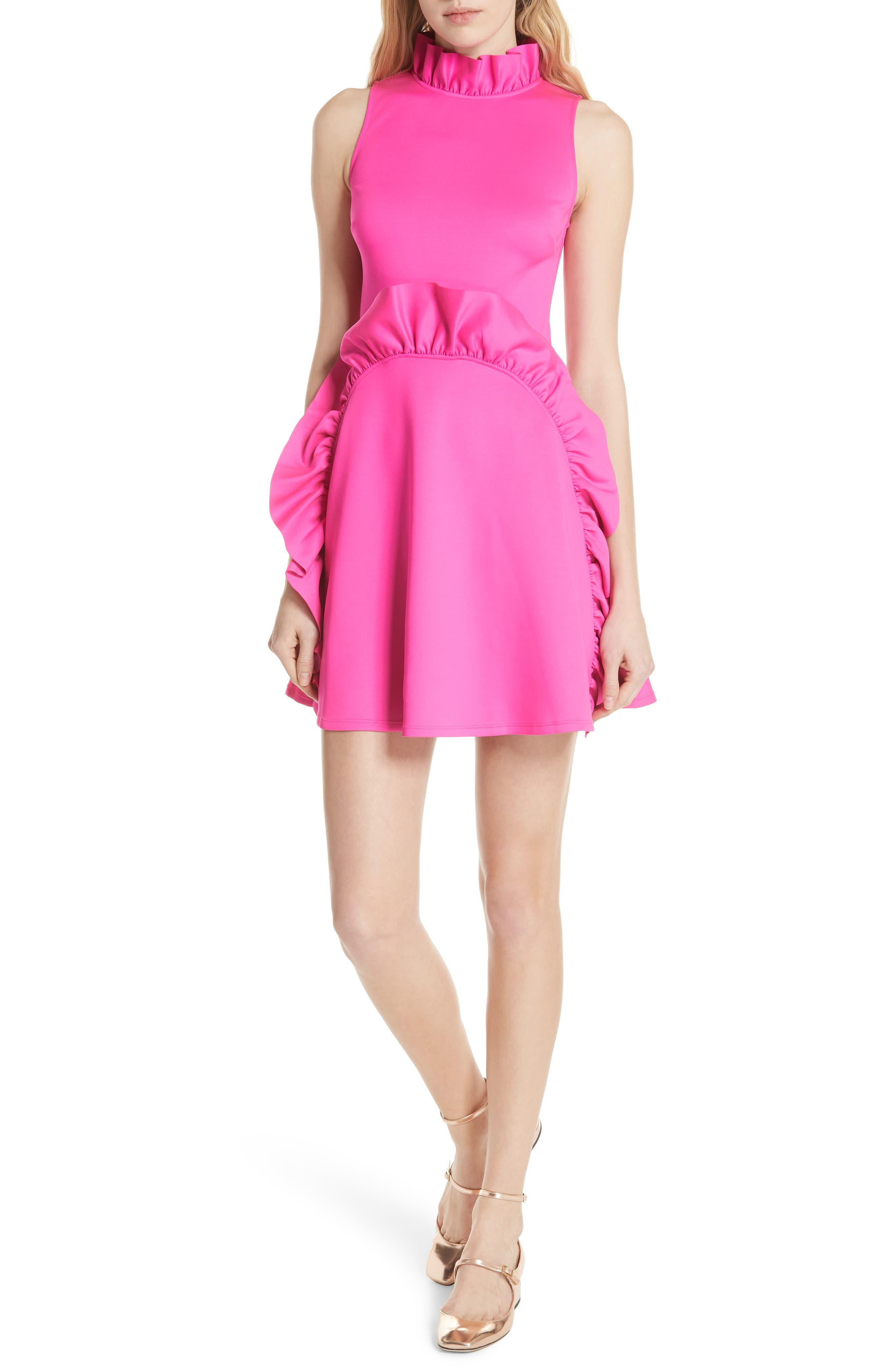 Jannett Laser Cut Ruffle Dress,                             Main thumbnail 1, color,                             Neon Pink